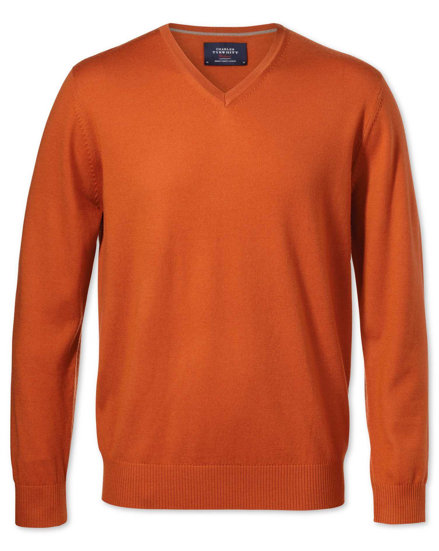 Orange Merino Wool V-Neck Jumper Size Medium by Charles Tyrwhitt