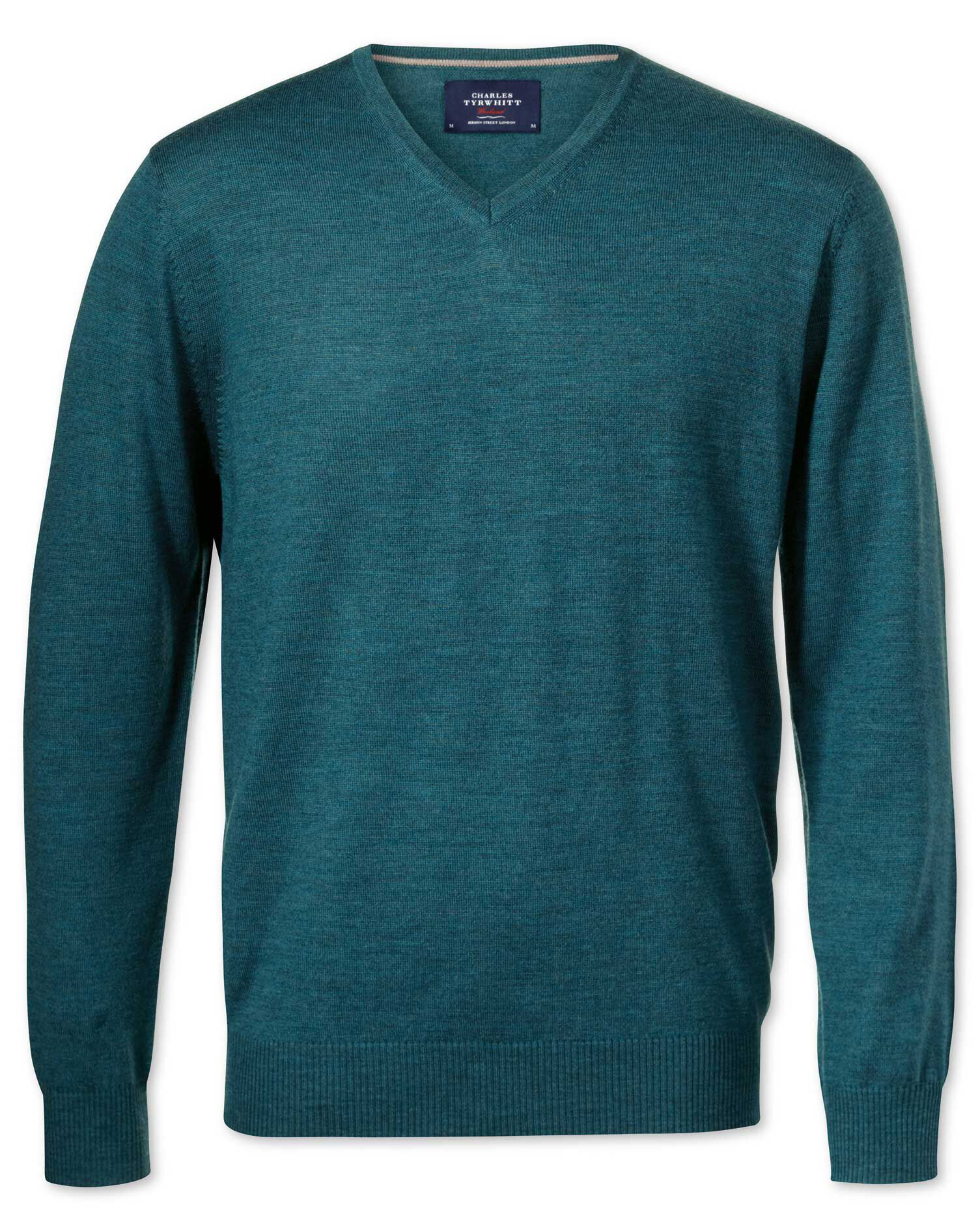 Teal Merino Wool V-Neck Jumper Size Medium by Charles Tyrwhitt