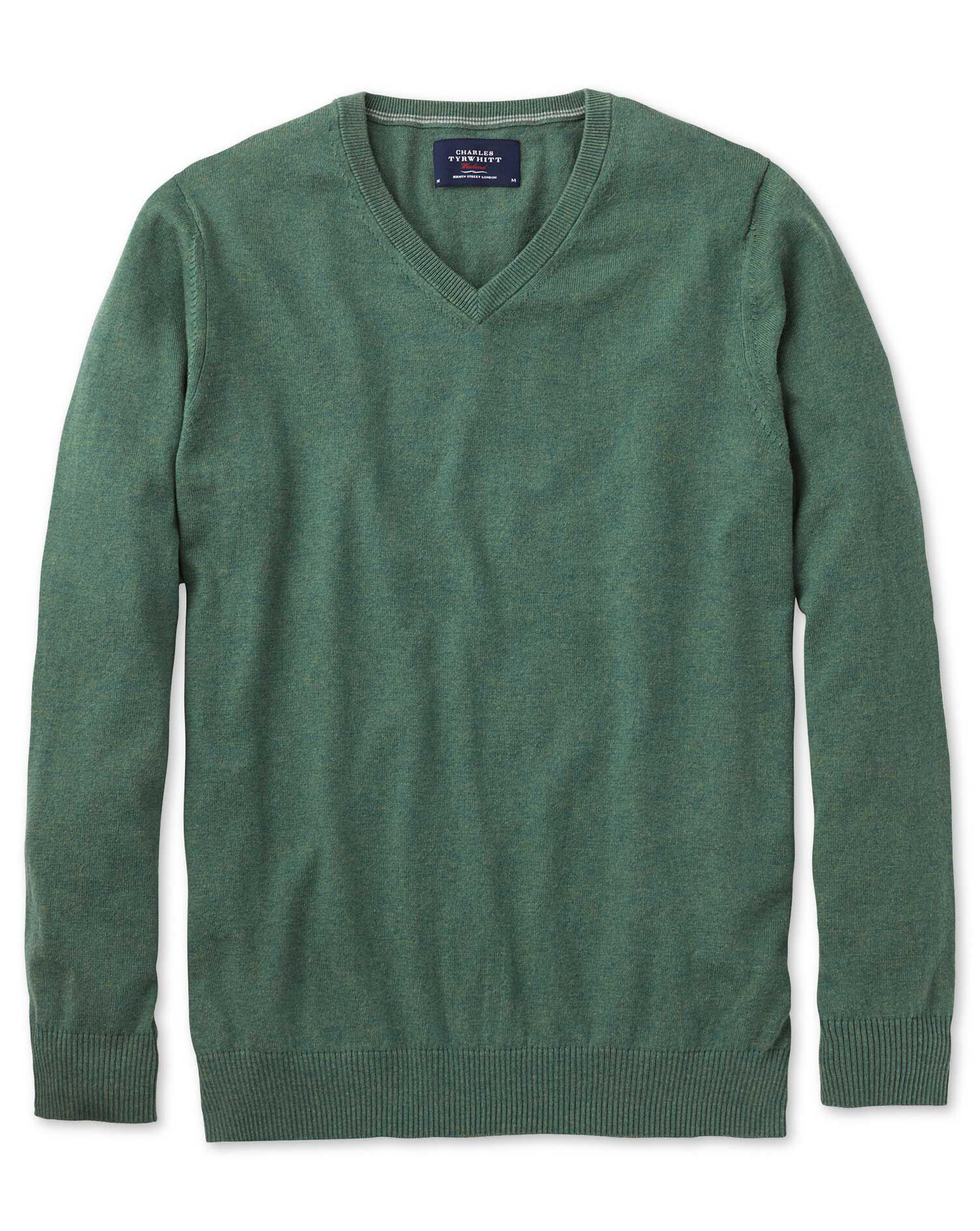 Mid Green Cotton Cashmere V-Neck Jumper Size Medium by Charles Tyrwhitt