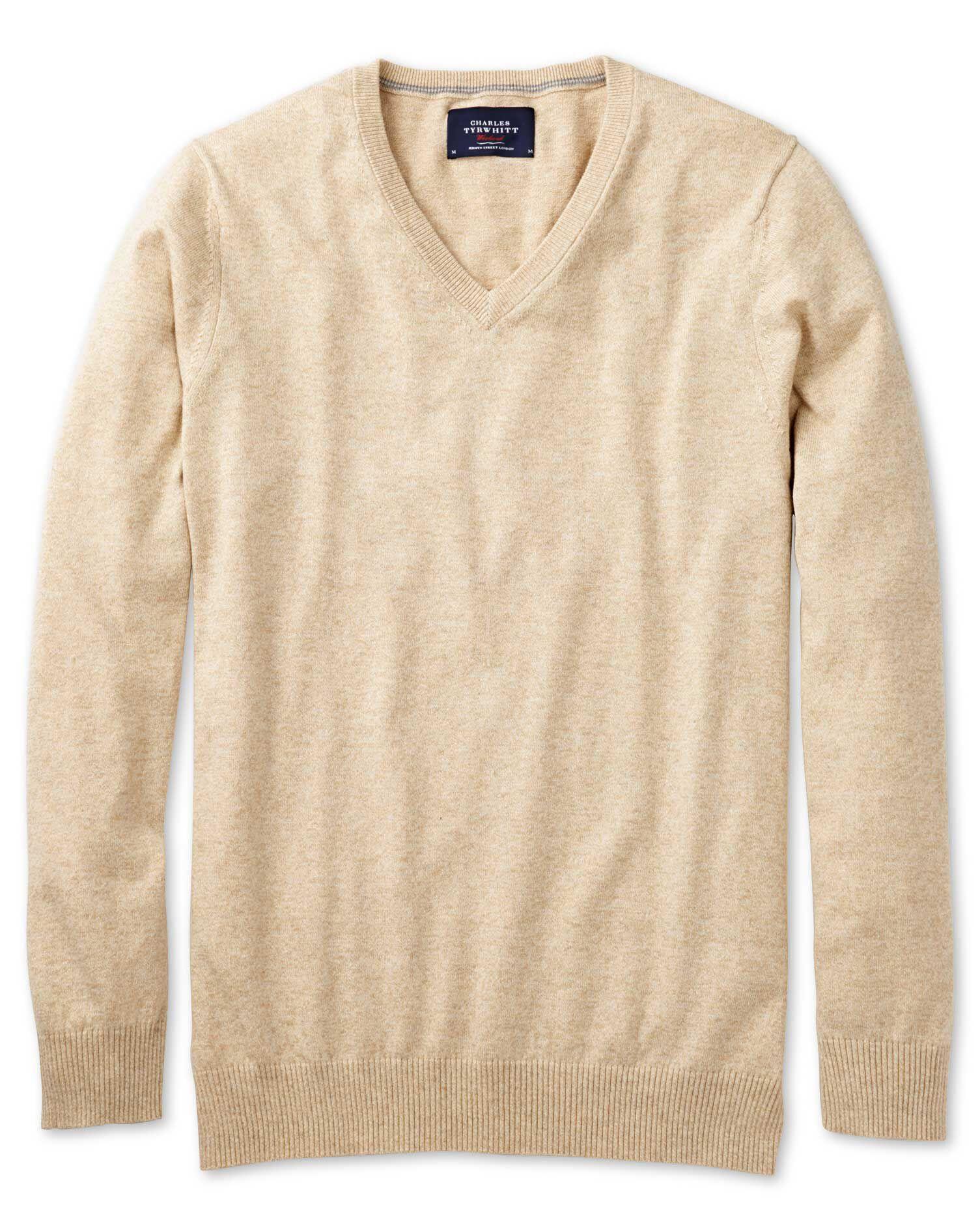Stone Cotton Cashmere V-Neck Jumper Size Medium by Charles Tyrwhitt