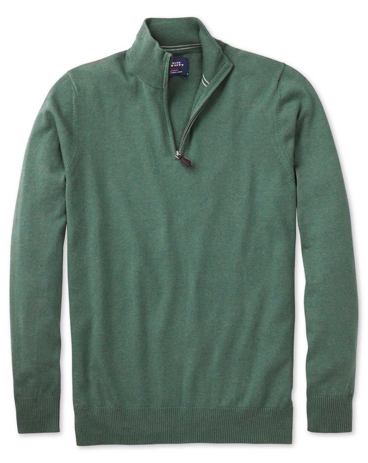 Mid Green Cotton Cashmere Zip Neck Jumper Size XXXL by Charles Tyrwhitt