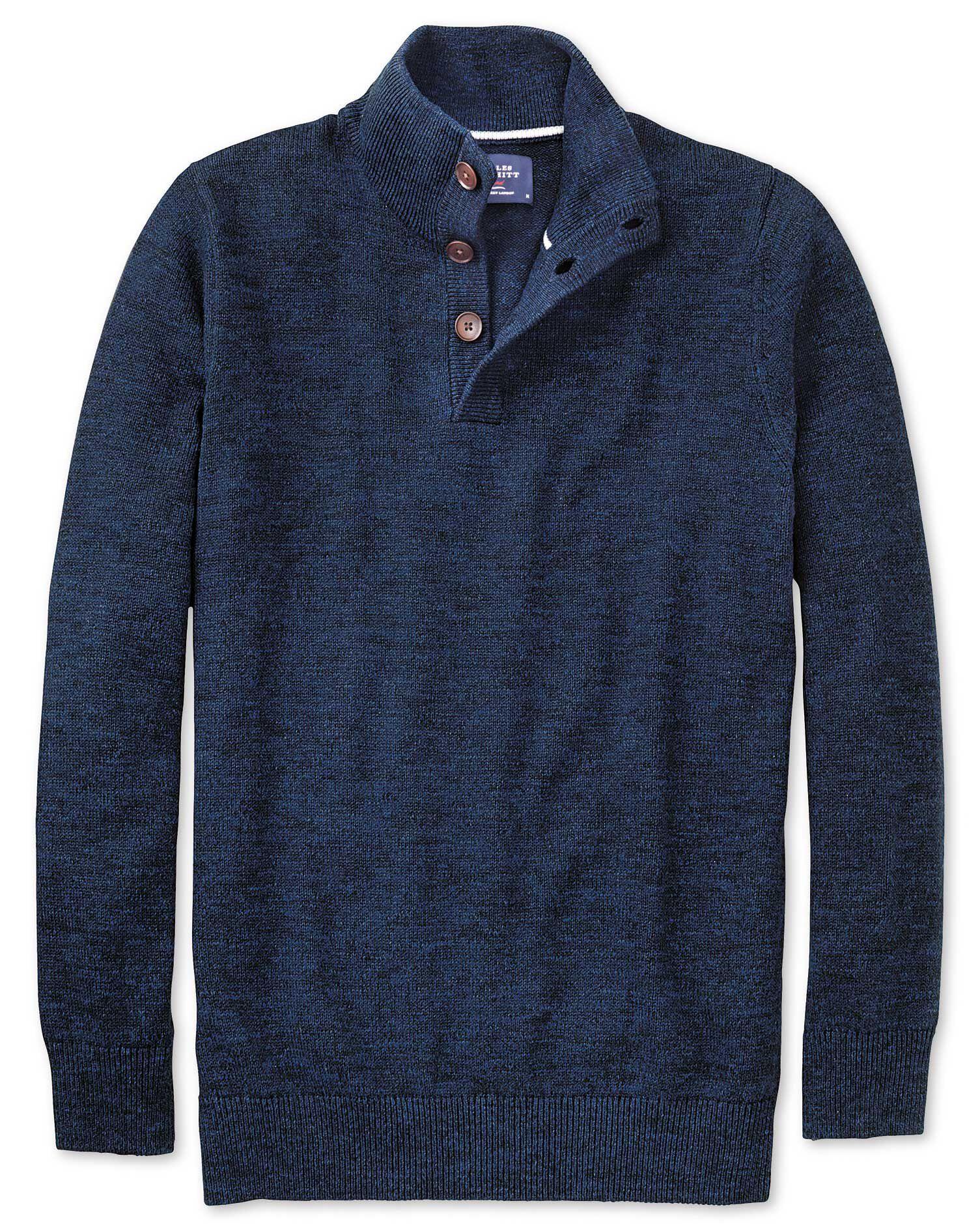 Indigo Blue Heather Button Neck Cotton Jumper Size Small by Charles Tyrwhitt