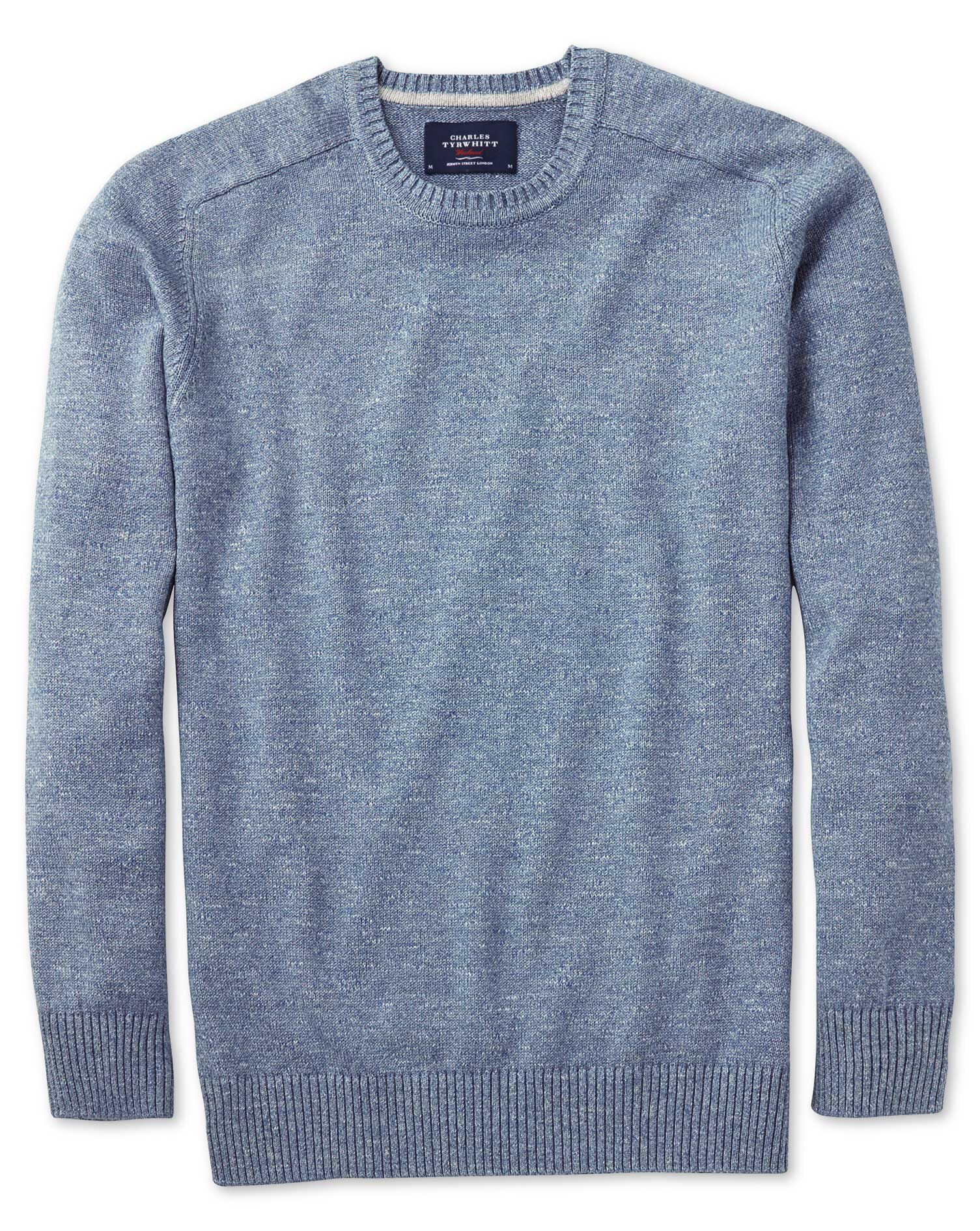 Sky Blue Heather Crew Neck Cotton Jumper Size XS by Charles Tyrwhitt