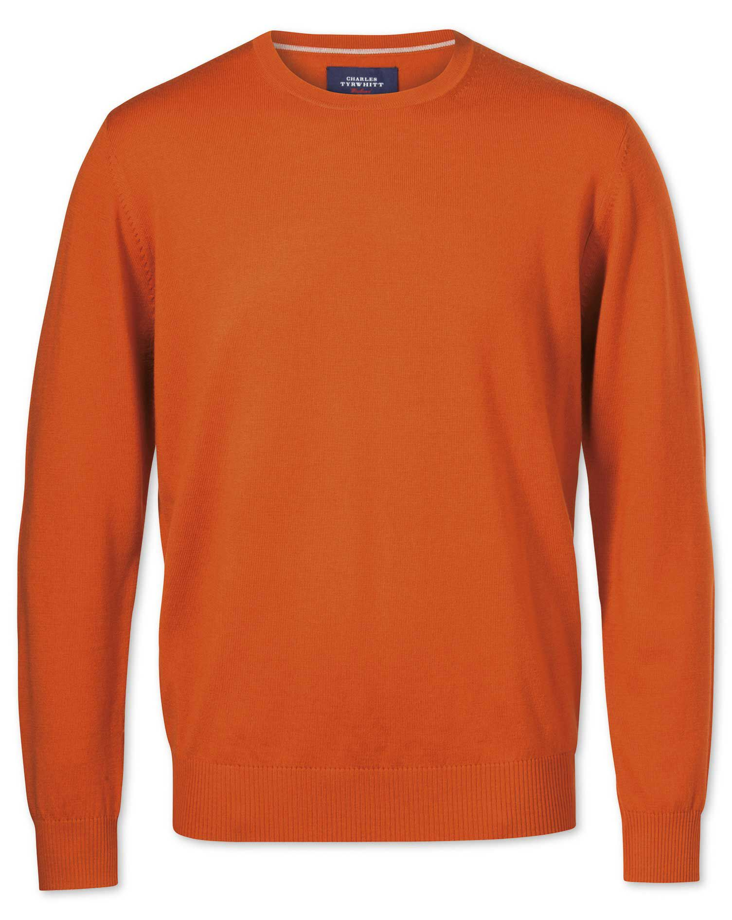 Orange Merino Crew Neck Wool Jumper Size Medium by Charles Tyrwhitt