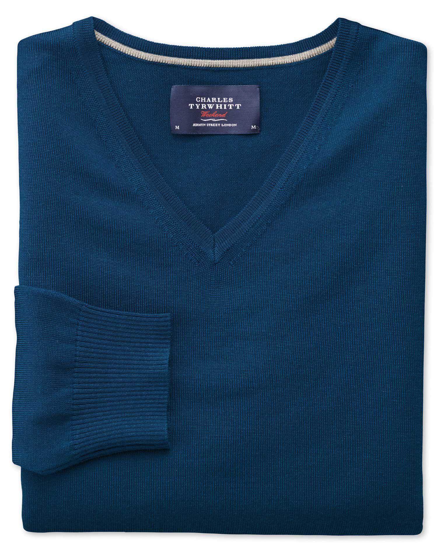 Blue Merino Wool V-Neck Jumper Size Small by Charles Tyrwhitt