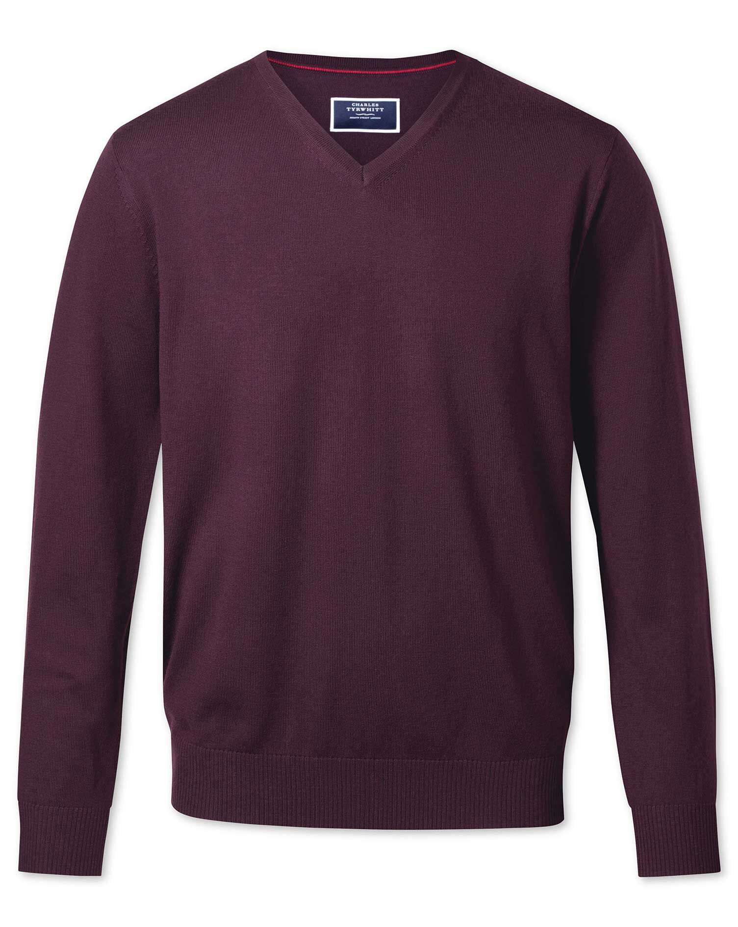 Wine Merino Wool V-Neck Jumper Size XXL by Charles Tyrwhitt