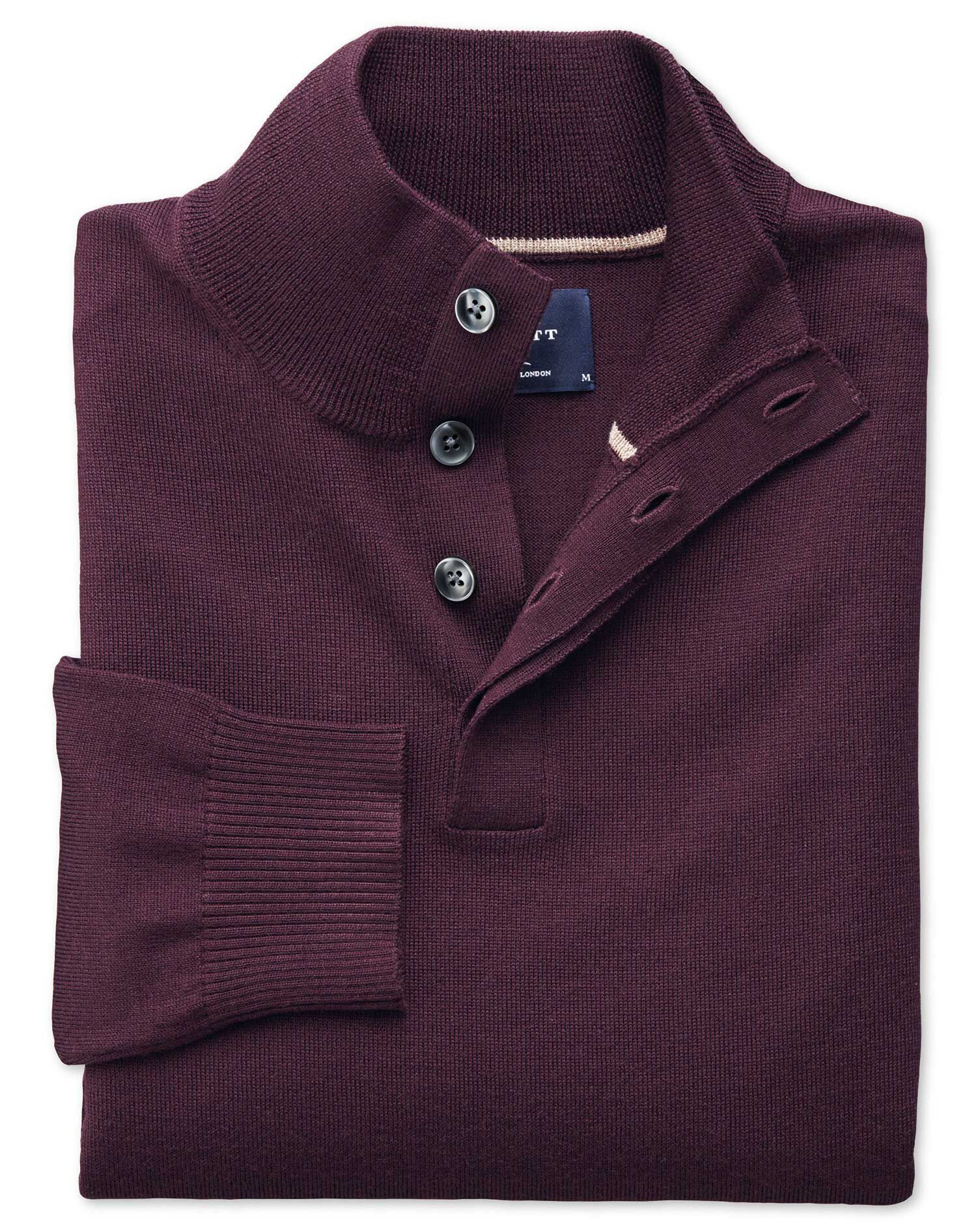 Wine Merino Wool Button Neck Jumper Size XXXL by Charles Tyrwhitt