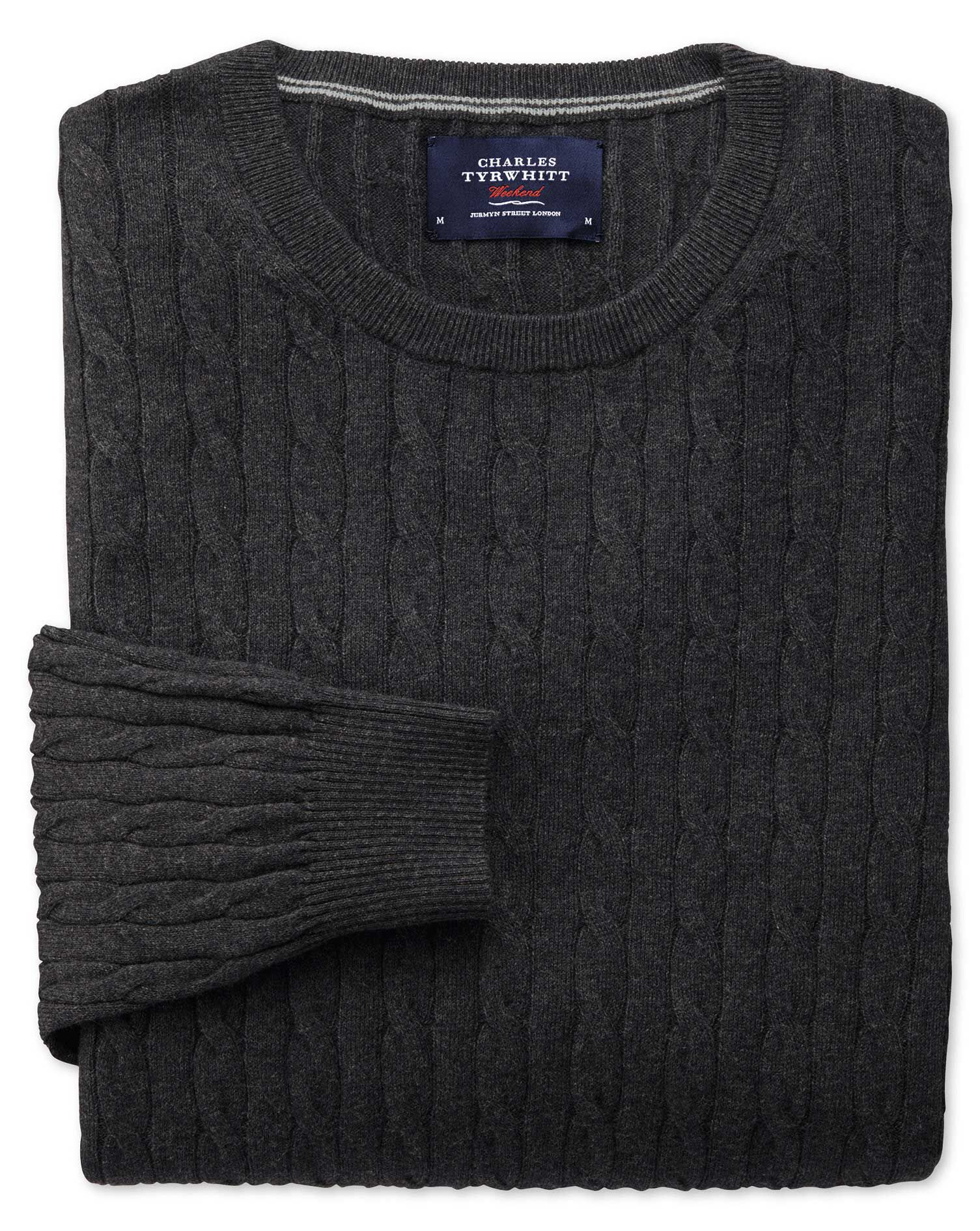 Charcoal Cotton Cashmere Cable Crew Neck Jumper Size XL by Charles Tyrwhitt