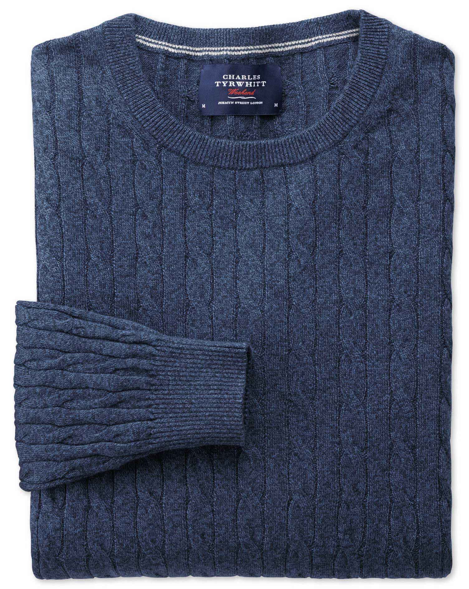 Indigo Cotton Cashmere Cable Crew Neck Jumper Size XL by Charles Tyrwhitt