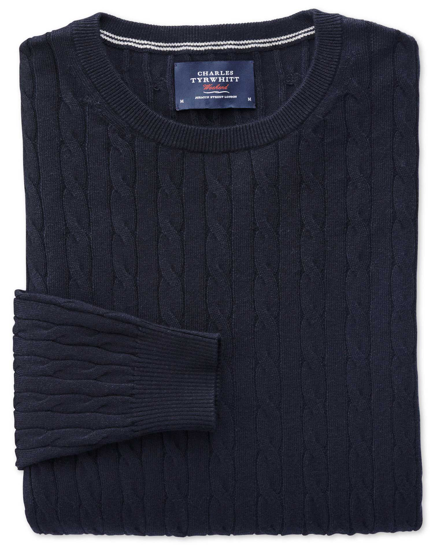 Navy Cotton Cashmere Cable Crew Neck Jumper Size XXXL by Charles Tyrwhitt
