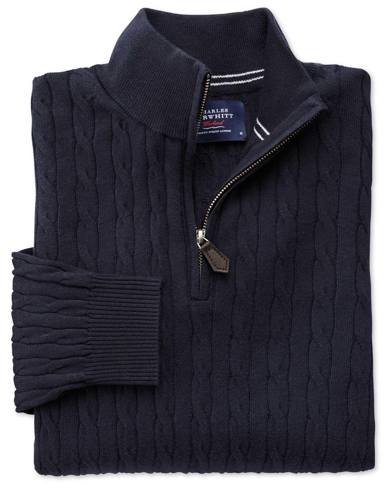 Navy Cotton Cashmere Cable Zip Neck Jumper Size XXXL by Charles Tyrwhitt