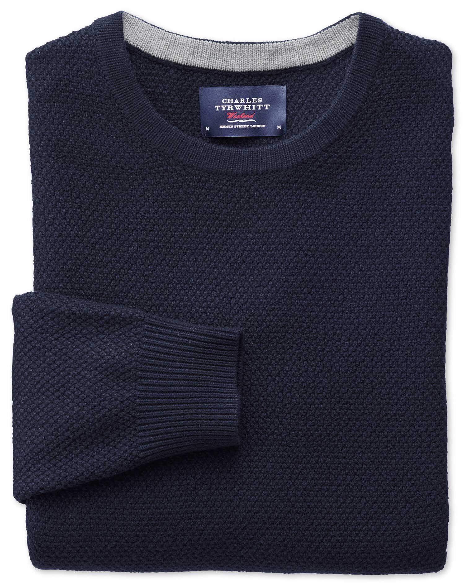 Navy Merino Cotton Crew Neck Wool Jumper Size XXXL by Charles Tyrwhitt