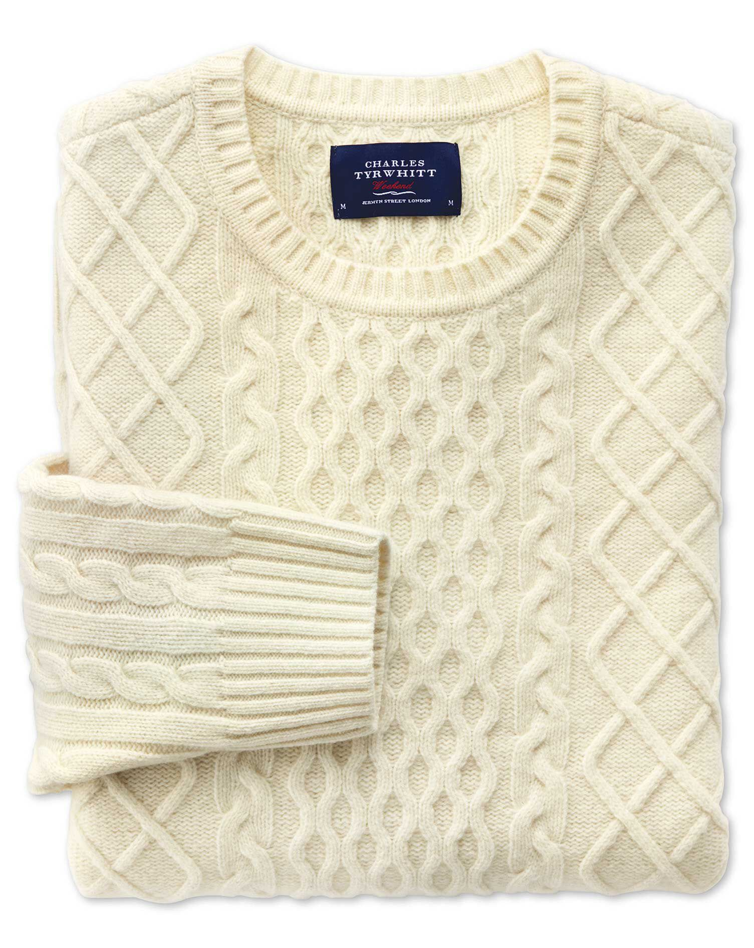 Cream Lambswool Cable Crew Neck Jumper Size XL by Charles Tyrwhitt