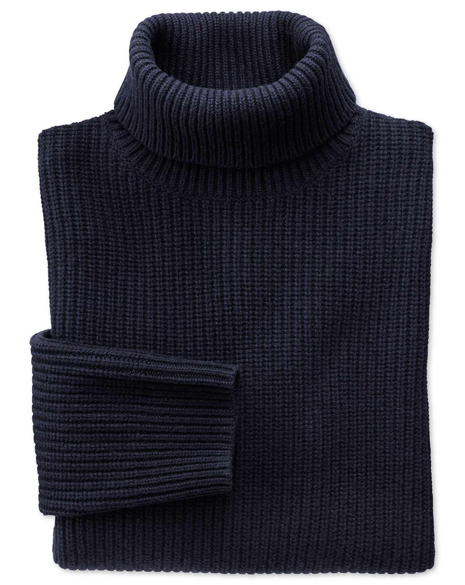 Navy Rib Roll Neck Wool Jumper Size XL by Charles Tyrwhitt