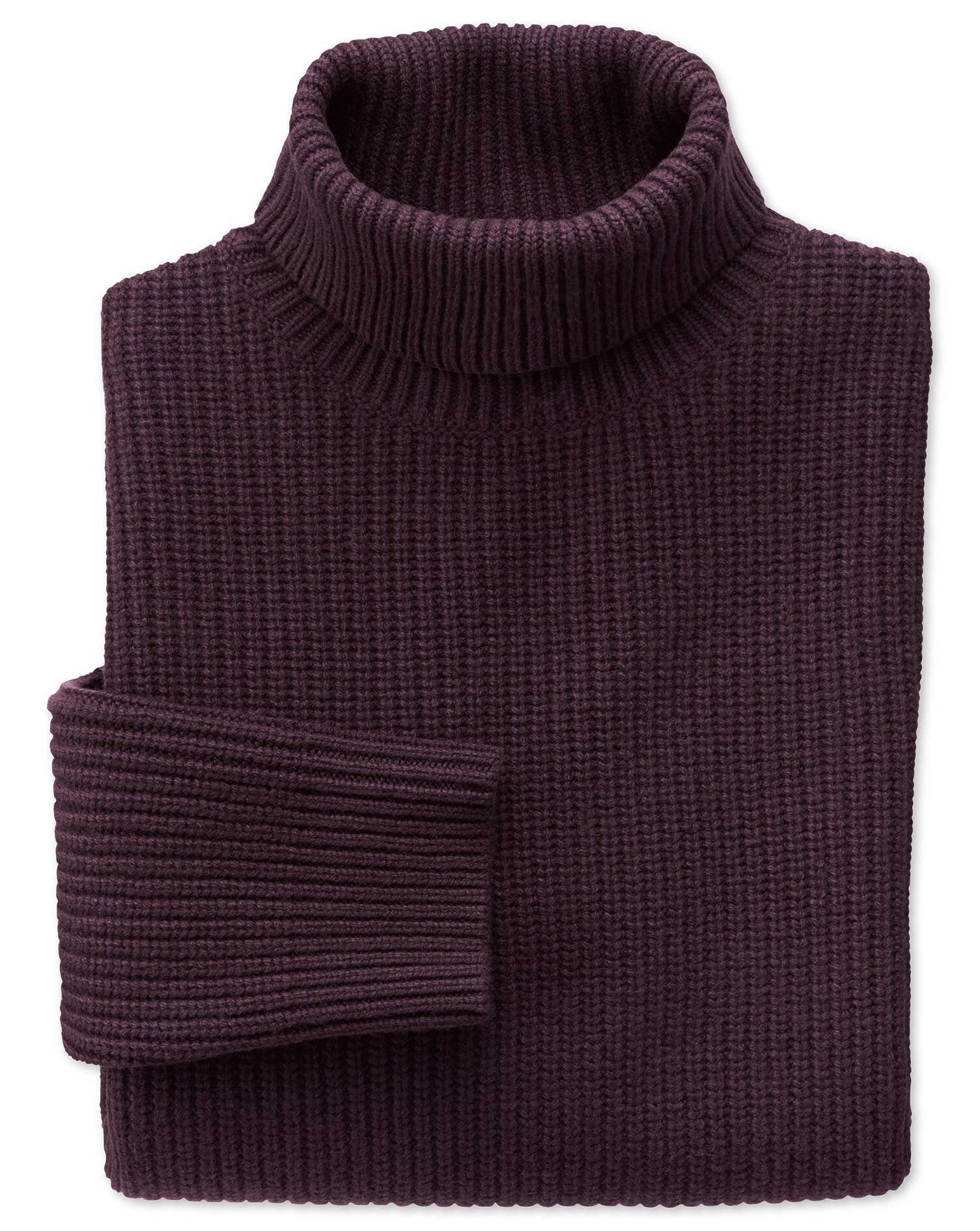 Wine Rib Roll Neck Wool Jumper Size Large by Charles Tyrwhitt