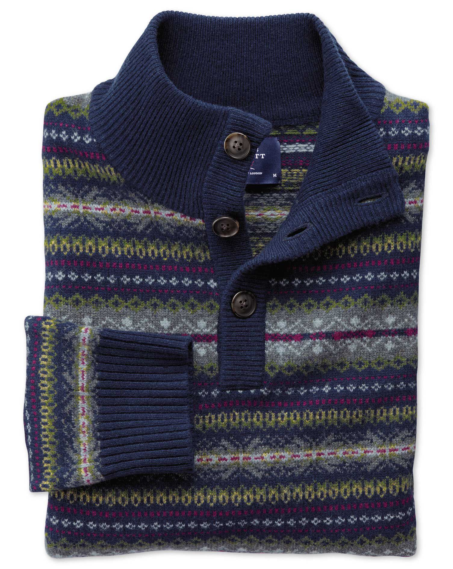 Navy Multi Fairisle Button Neck Wool Jumper Size XXXL by Charles Tyrwhitt