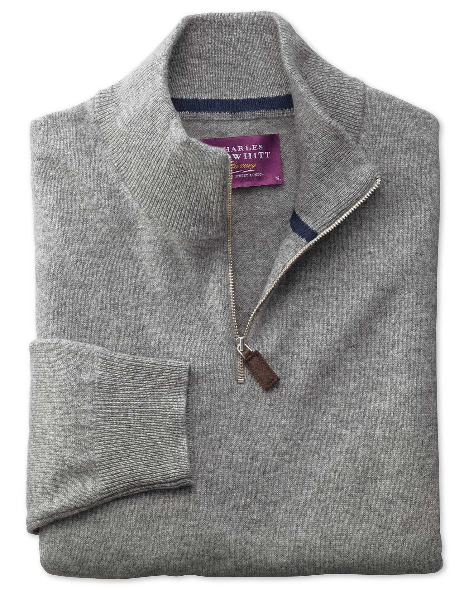 Silver Cashmere Zip Neck Jumper Size Large by Charles Tyrwhitt