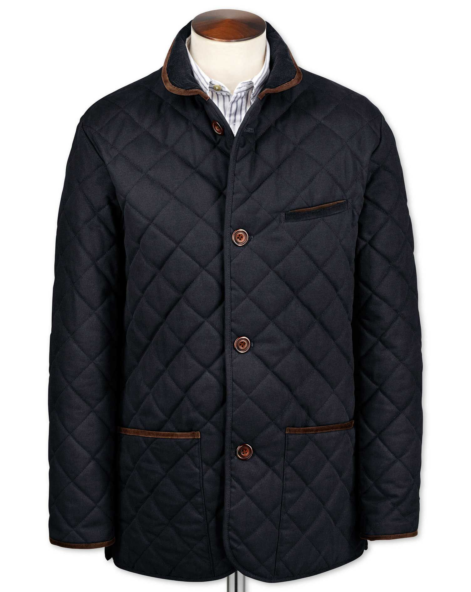 Navy Canvas Quilted Cotton Jacket Size 36 Regular by Charles Tyrwhitt