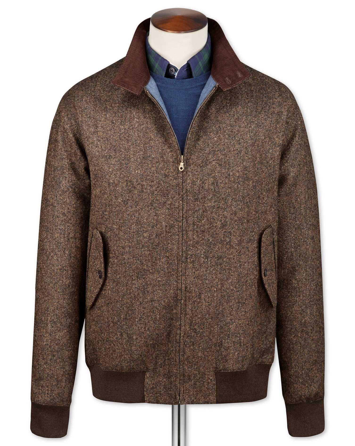 Brown Harrington Wool Jacket Size 40 Regular by Charles Tyrwhitt