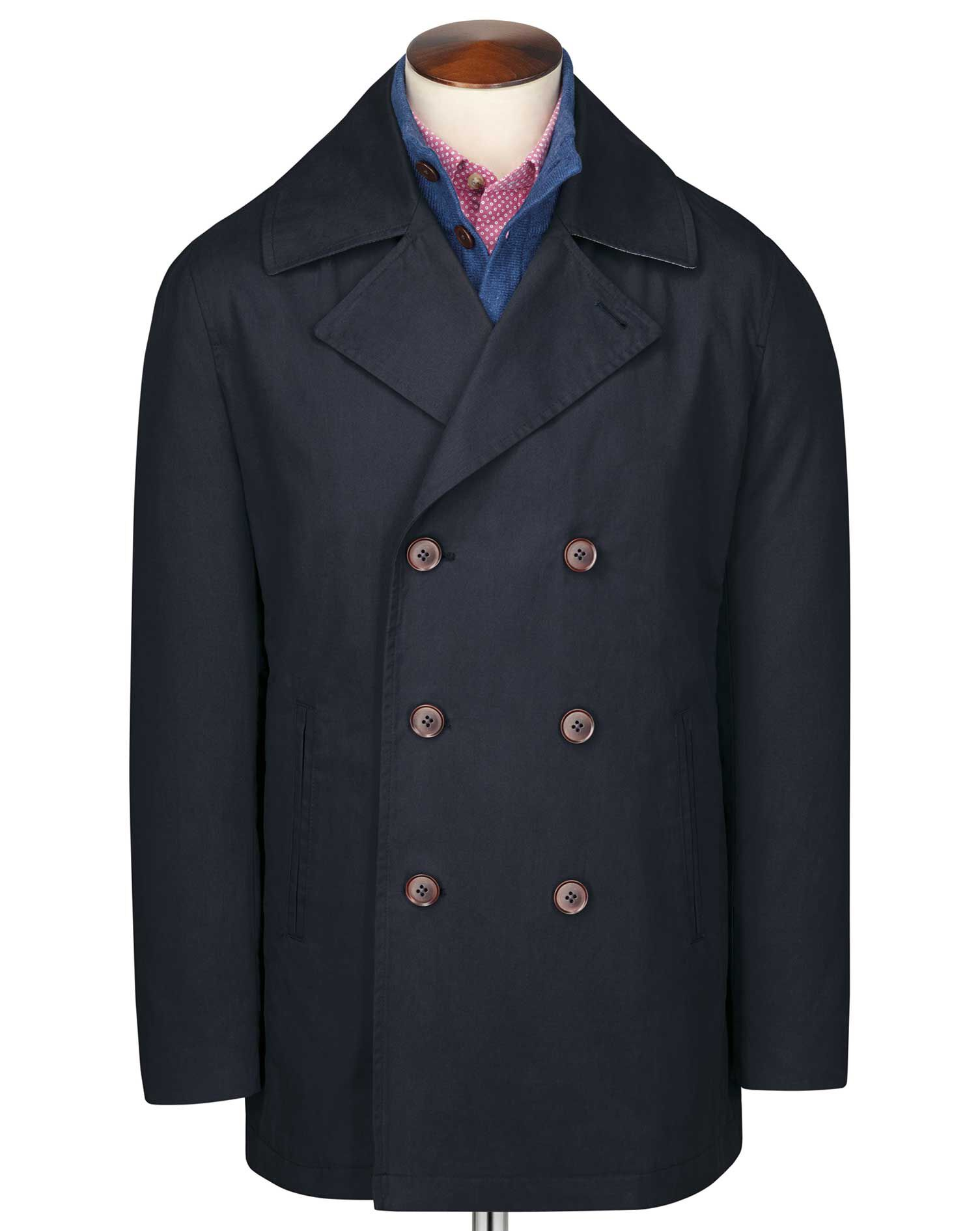 Navy Pea Cotton Coat Size 42 by Charles Tyrwhitt