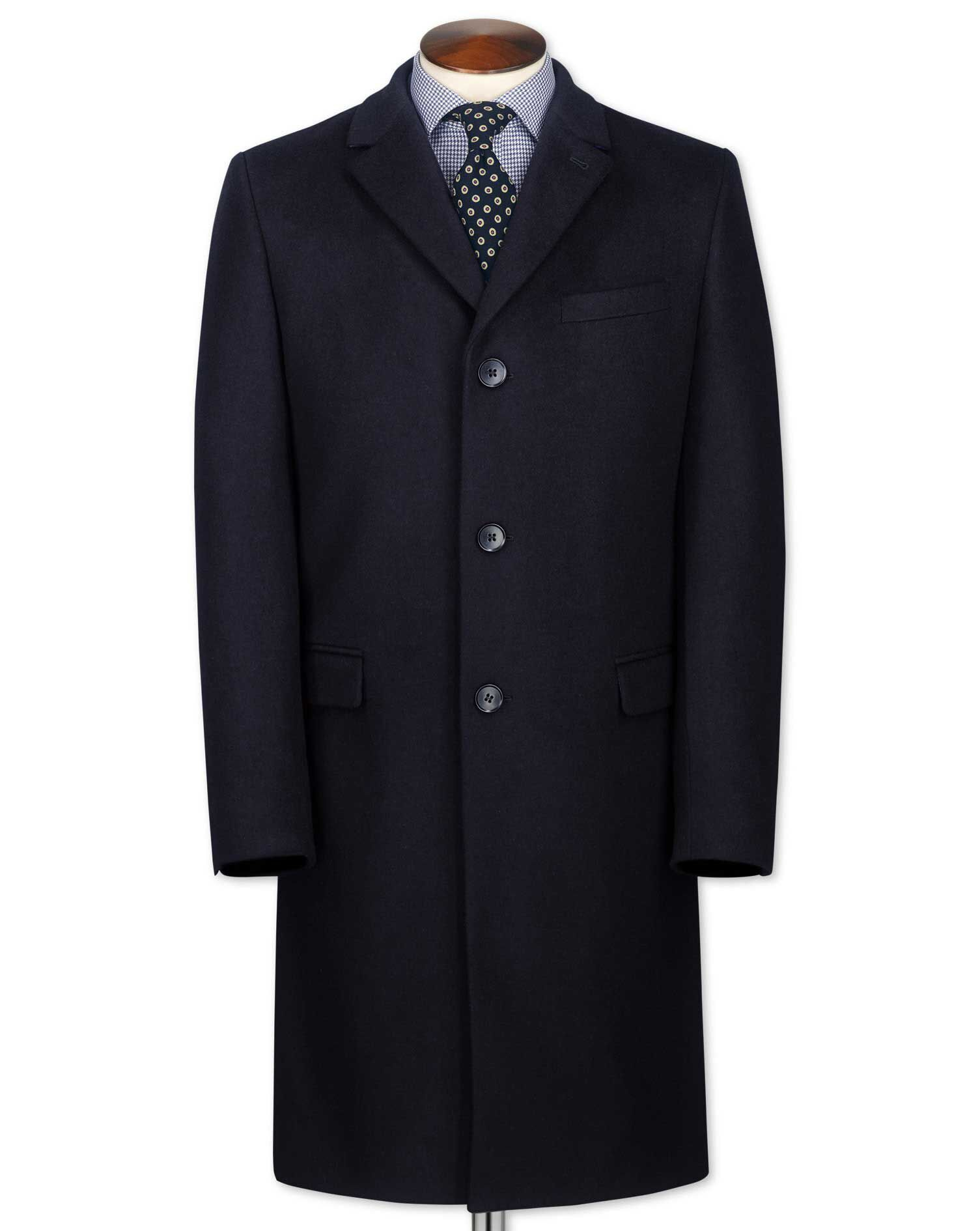 Classic Fit Navy Wool and Cashmere Overcoat Size 38 by Charles Tyrwhitt