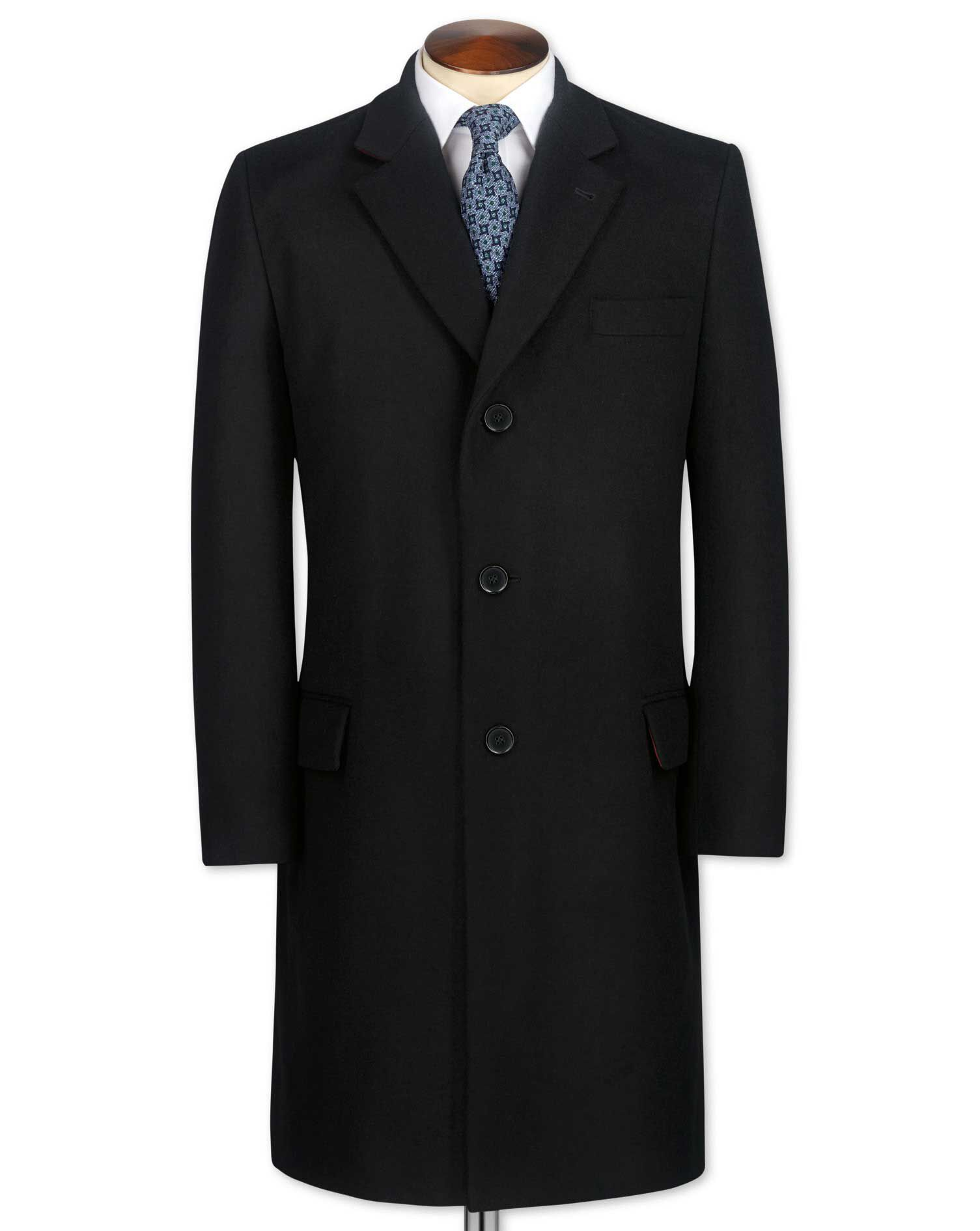 Slim Fit Black Wool and Cashmere Overcoat Size 46 by Charles Tyrwhitt