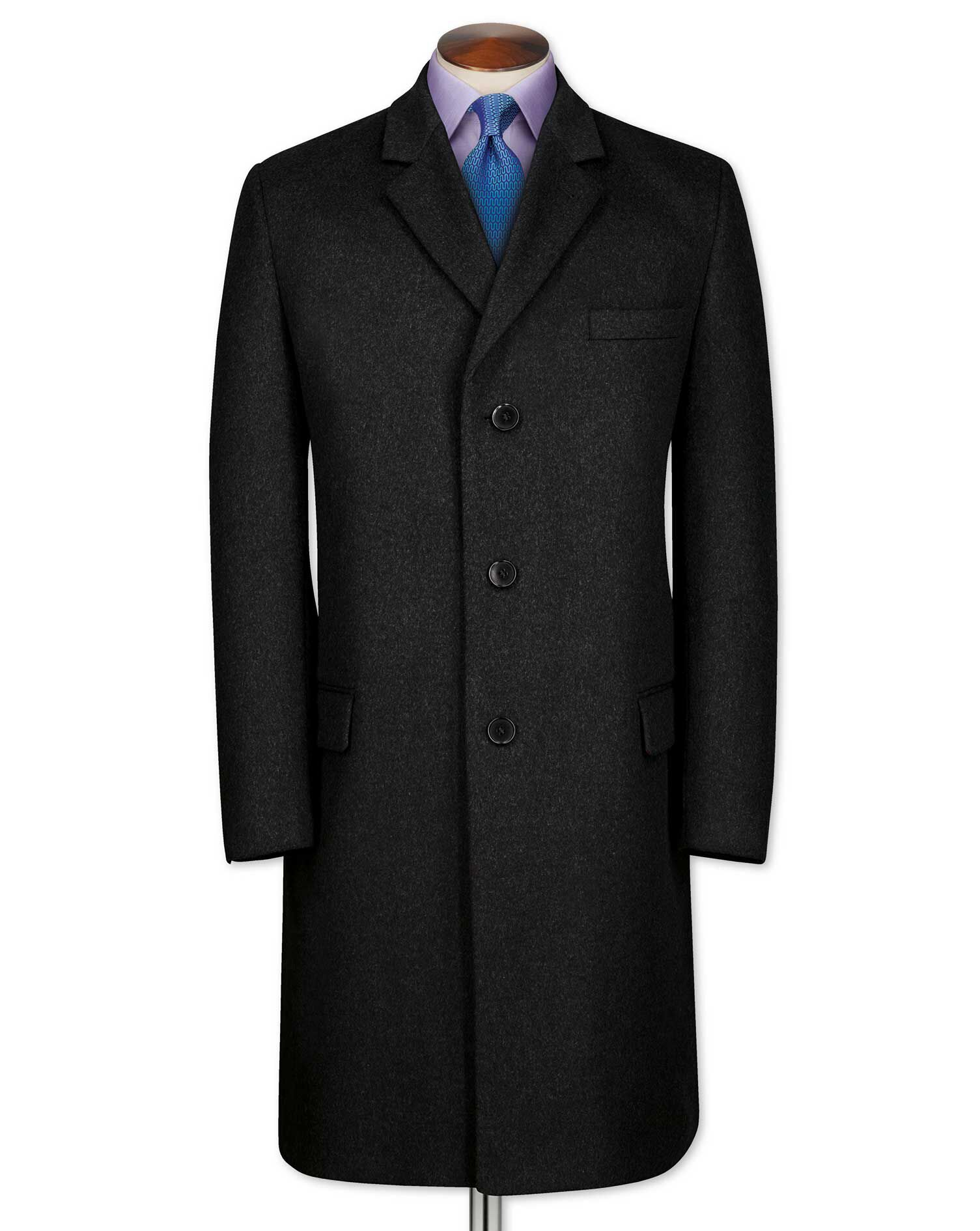 Slim Fit Charcoal Wool and Cashmere Overcoat Size 48 by Charles Tyrwhitt