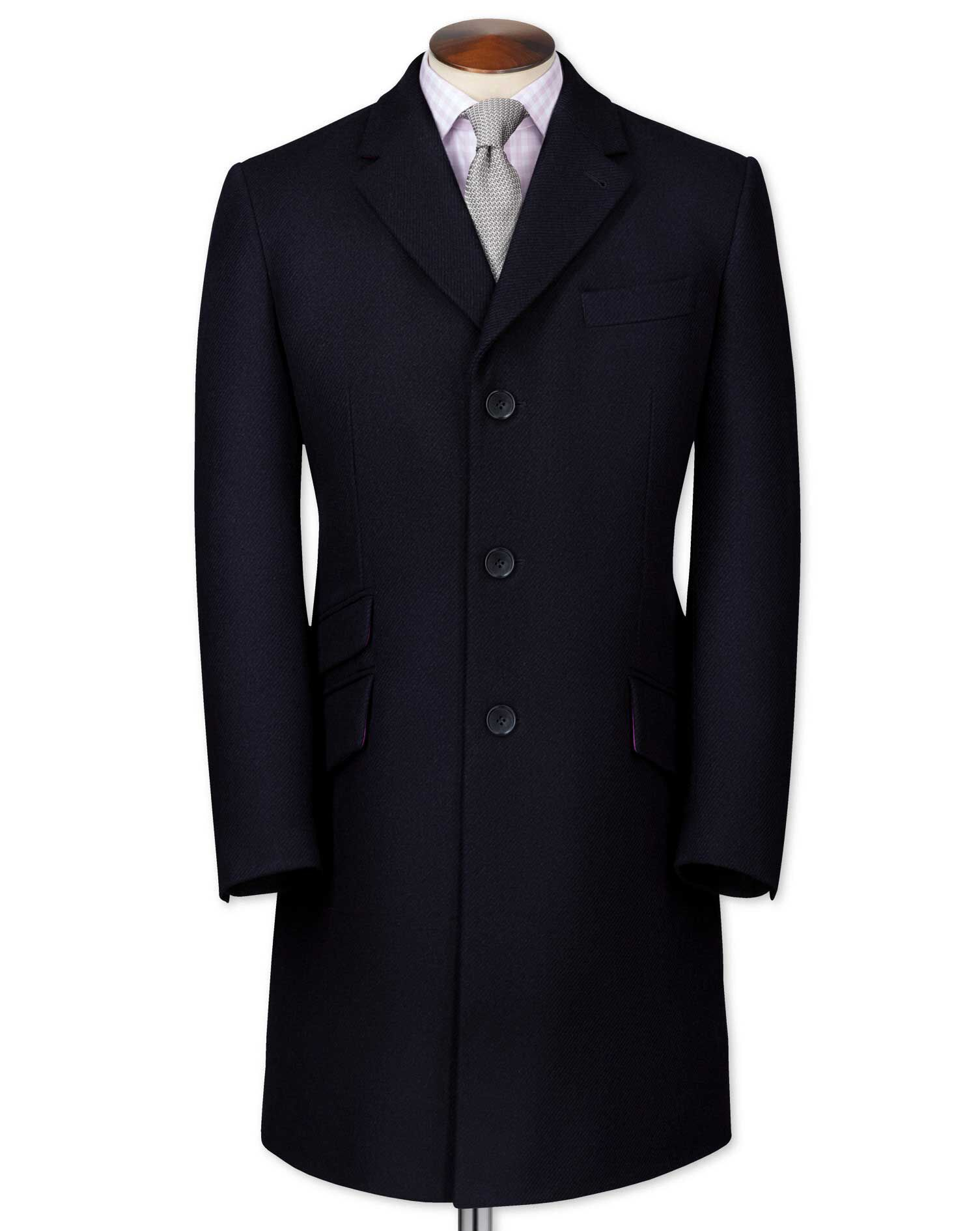 Men's Vintage Style Coats and Jackets Slim Fit Navy Wool Epsom OverWool coat Size 46 Regular by Charles Tyrwhitt £99.00 AT vintagedancer.com