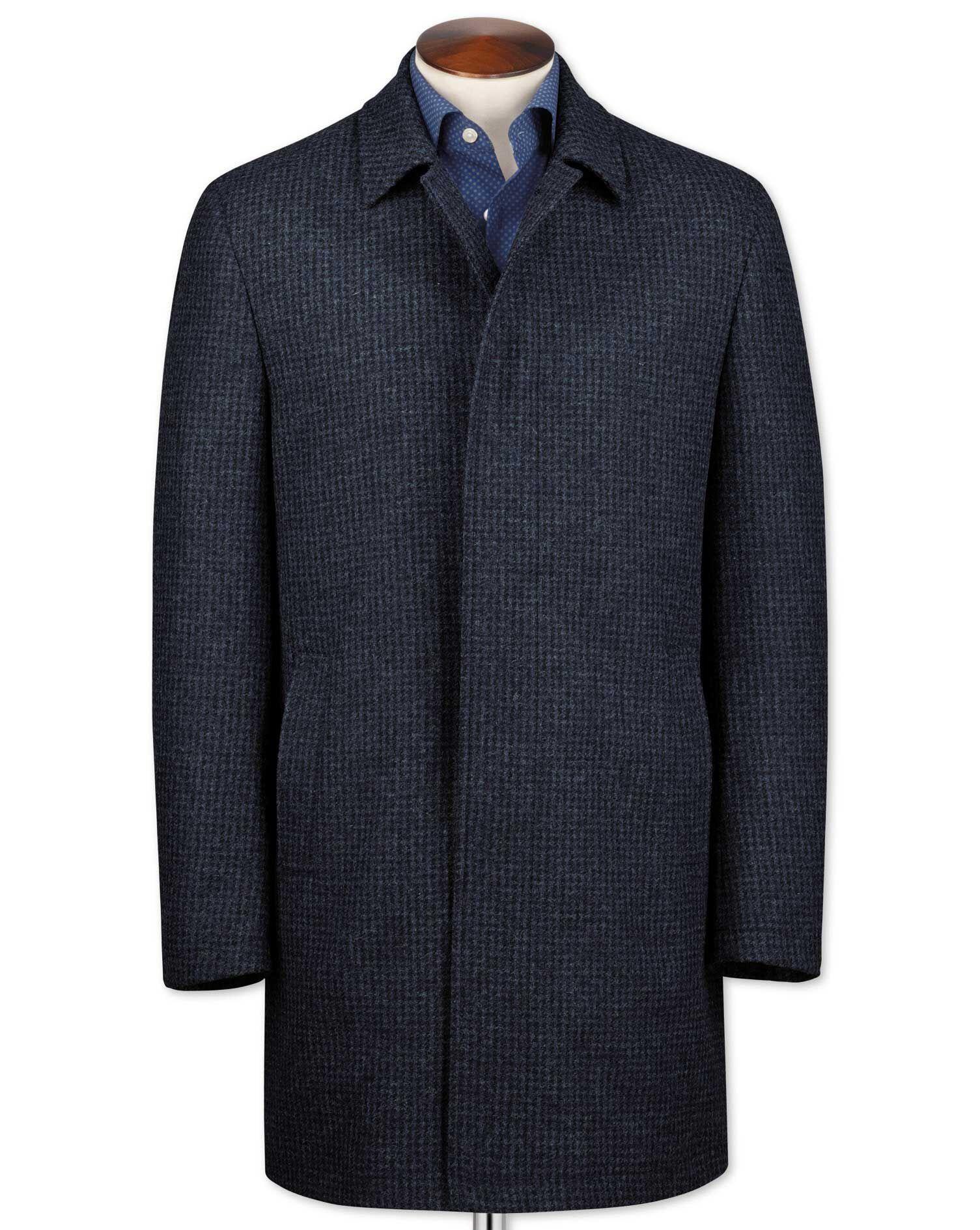 Blue Puppytooth Wool Car Wool Coat Size 48 Regular by Charles Tyrwhitt