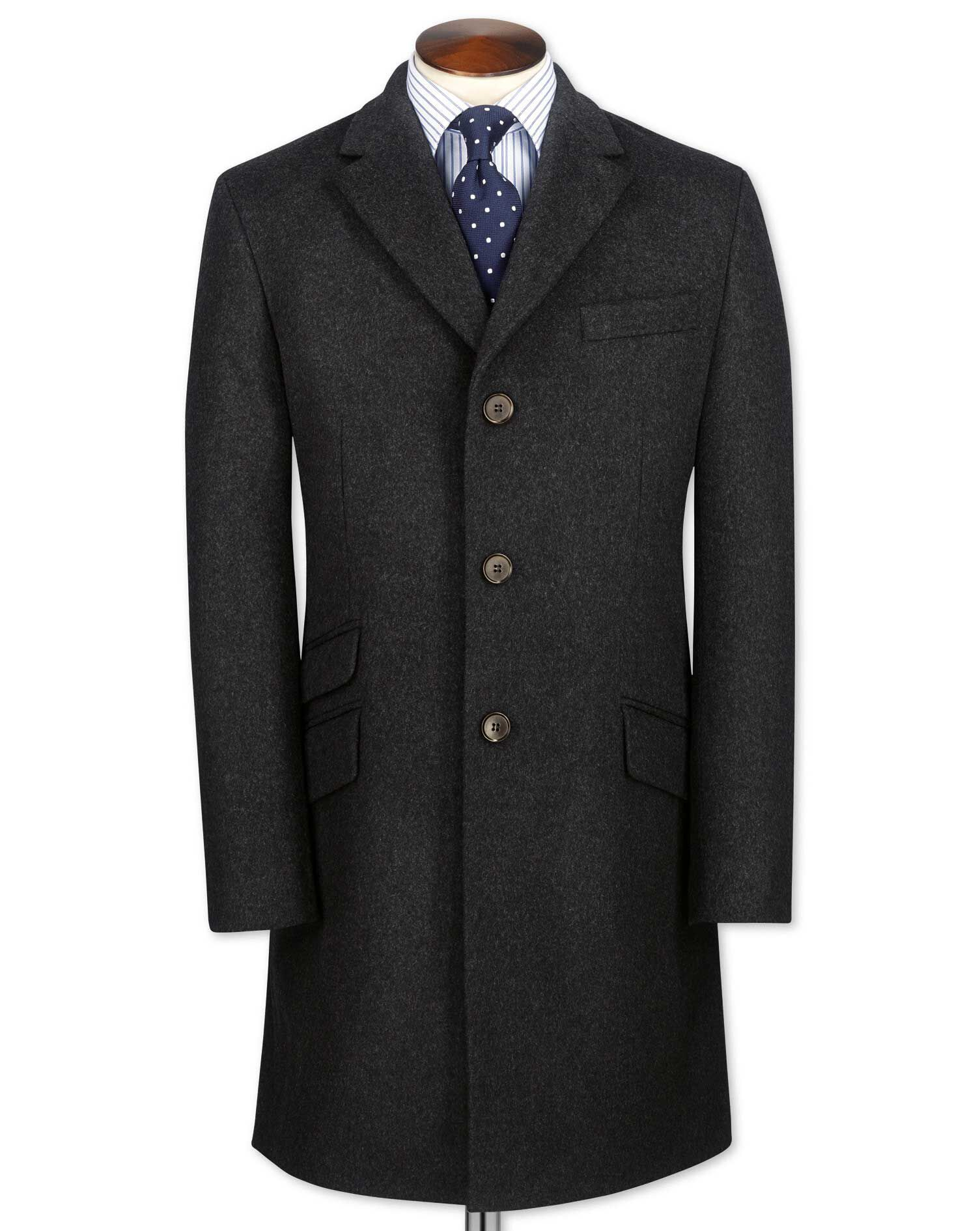 Charcoal Wool and Cashmere Epsom Overcoat Size 48 Regular by Charles Tyrwhitt