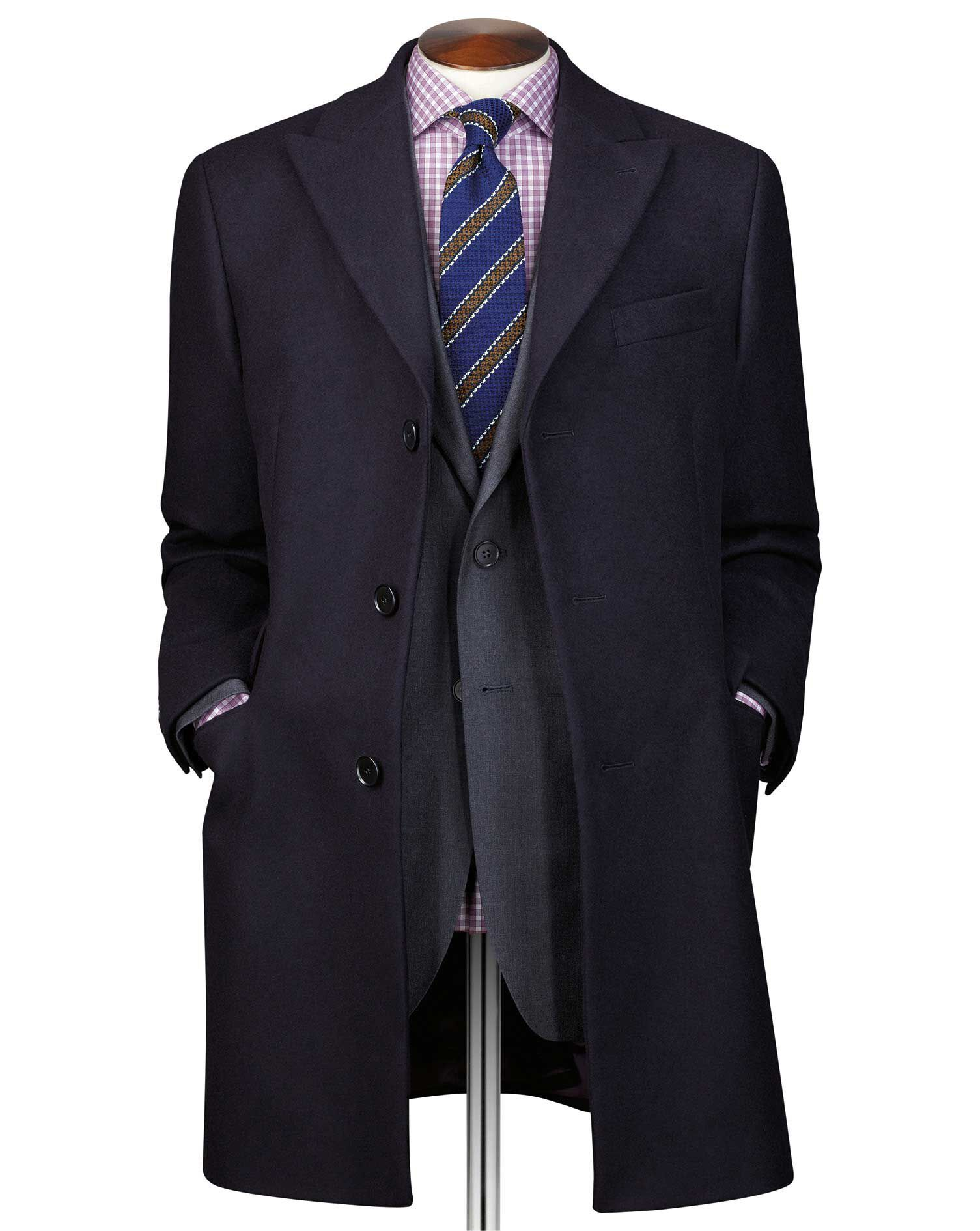 Navy Wool and Cashmere Epsom Overcoat Size 48 Regular by Charles Tyrwhitt
