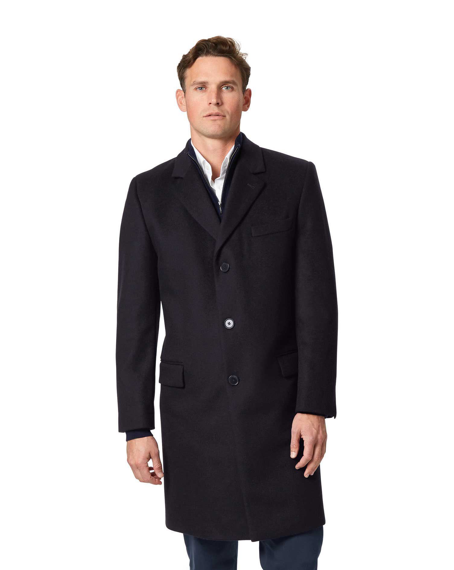 Navy Wool and Cashmere Overcoat Size 38 Long by Charles Tyrwhitt