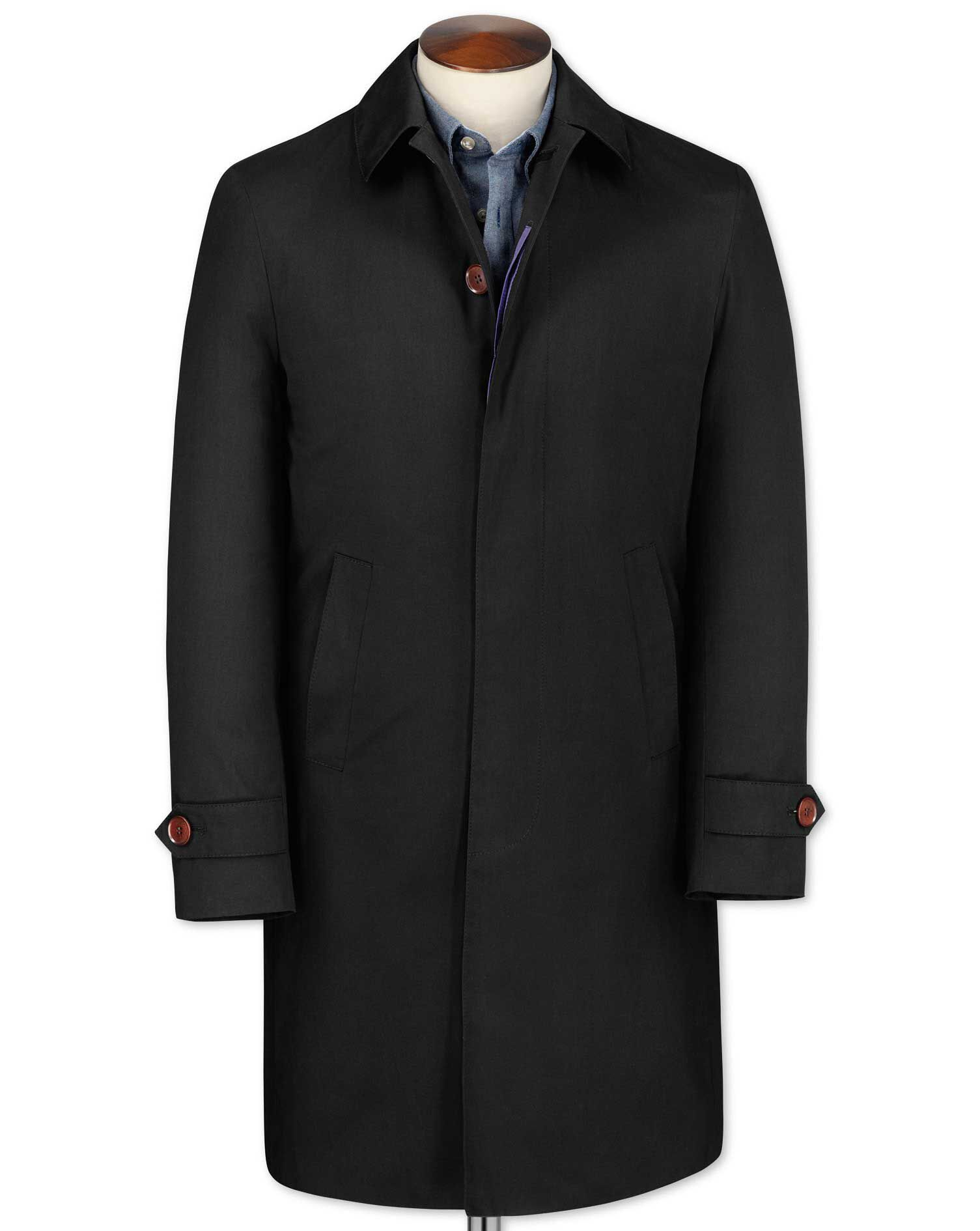 Classic Fit Black RainCotton coat Size 38 by Charles Tyrwhitt