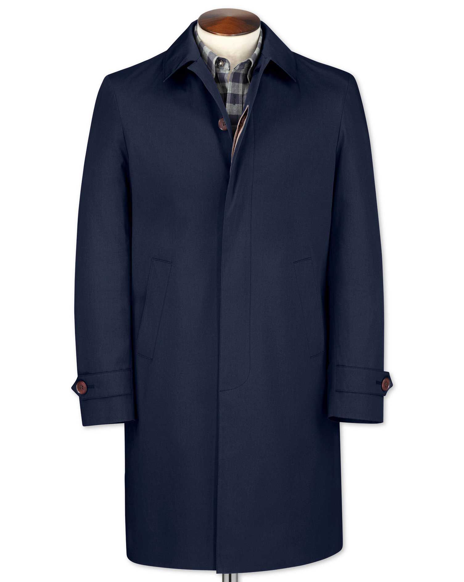 Men's Vintage Style Coats and Jackets Slim Fit Blue RainCotton coat Size 48 Regular by Charles Tyrwhitt £99.00 AT vintagedancer.com