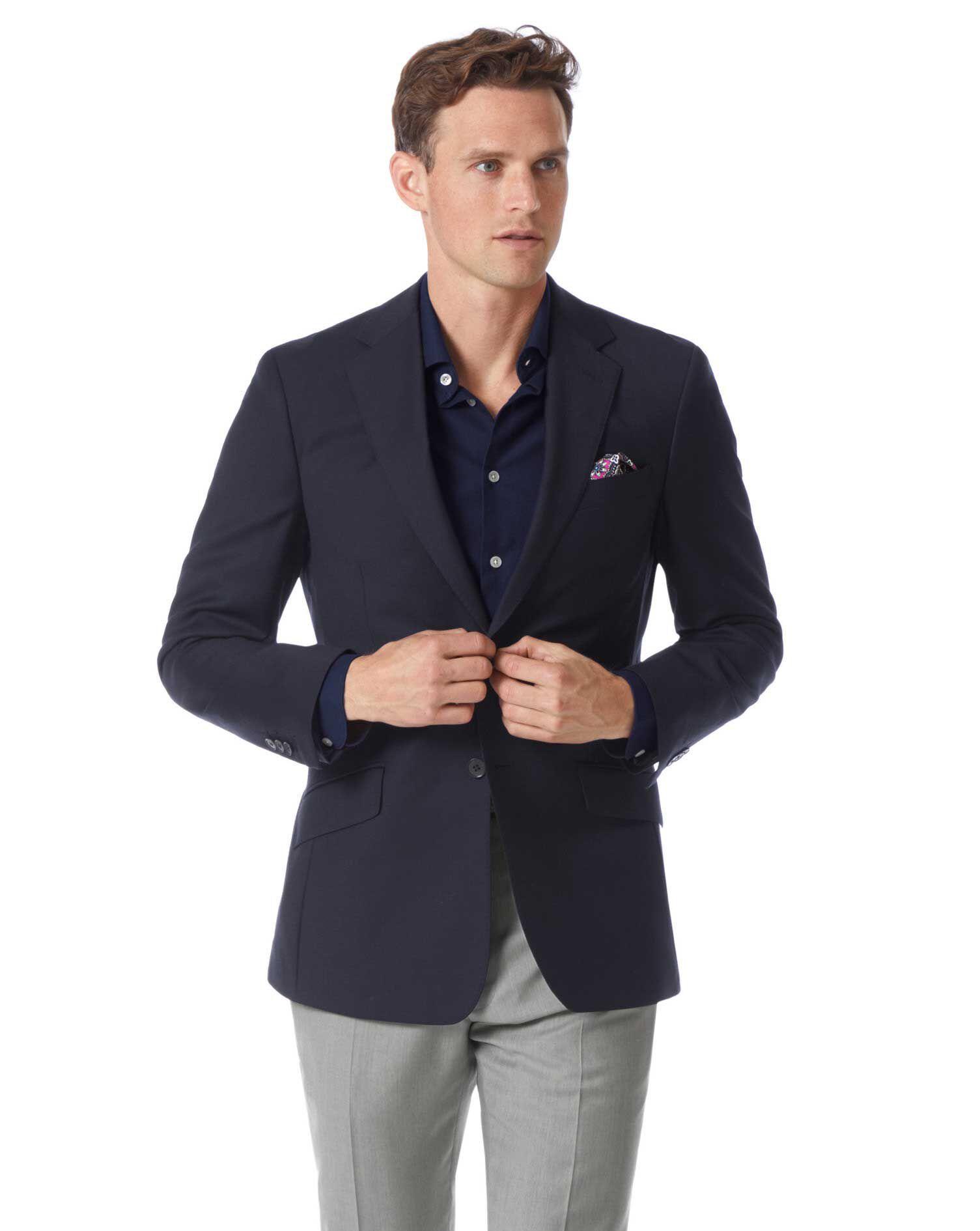 Slim Fit Navy Wool Wool Blazer Size 42 Short by Charles Tyrwhitt