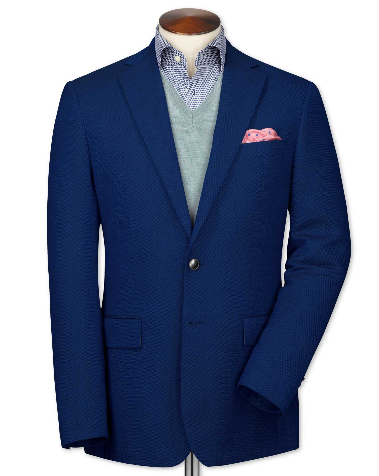 Slim Fit Royal Blue Wool Wool Blazer Size 38 by Charles Tyrwhitt