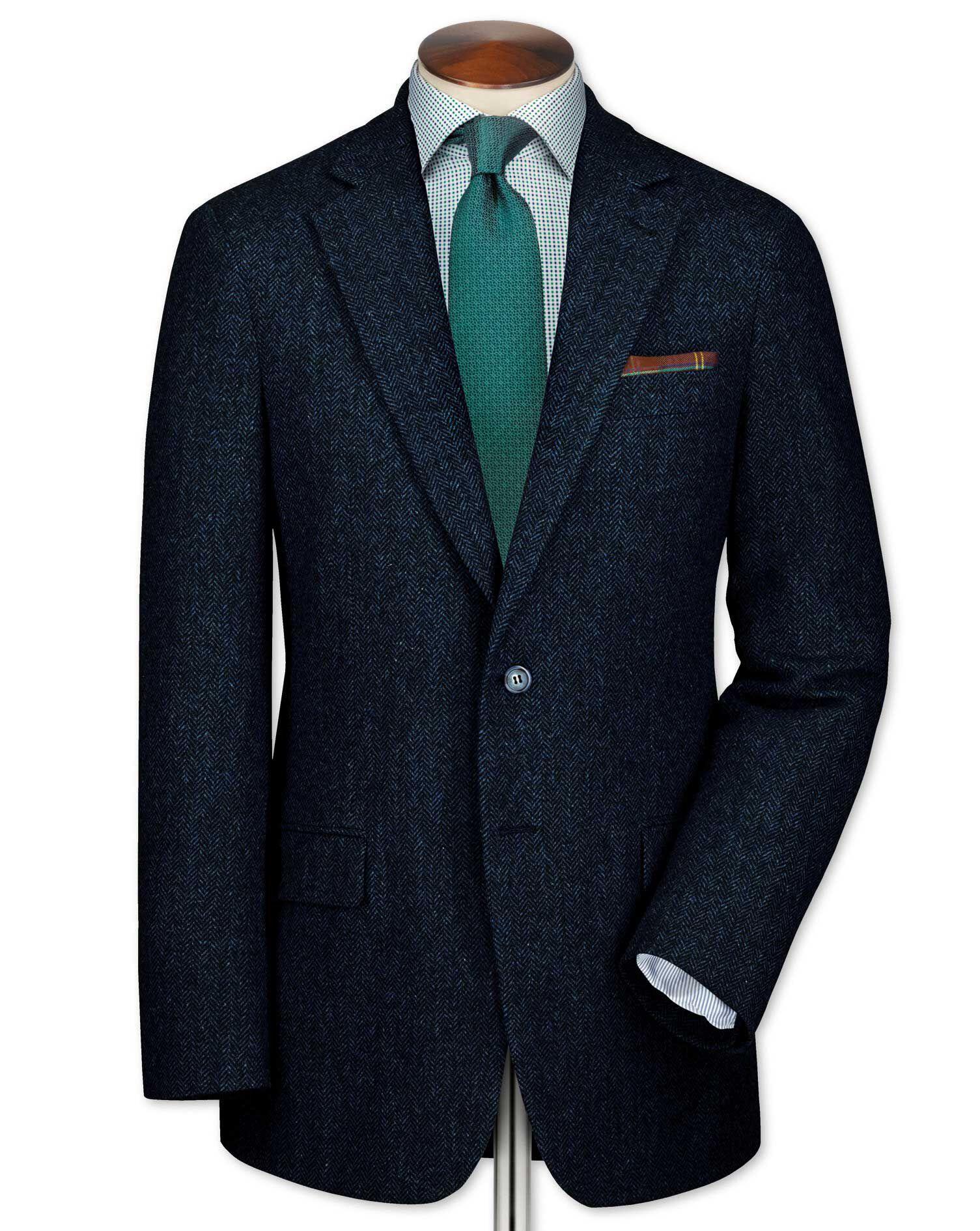 Slim Fit Blue Tweed Wool Jacket Size 38 Regular by Charles Tyrwhitt