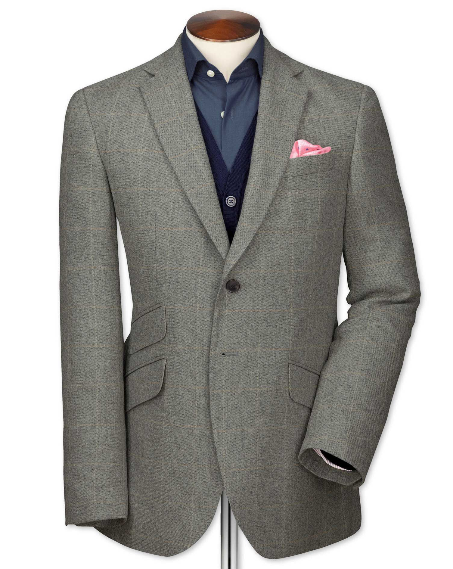 Slim Fit Grey Checkered Luxury Border Tweed Wool Jacket Size 40 Long by Charles Tyrwhitt