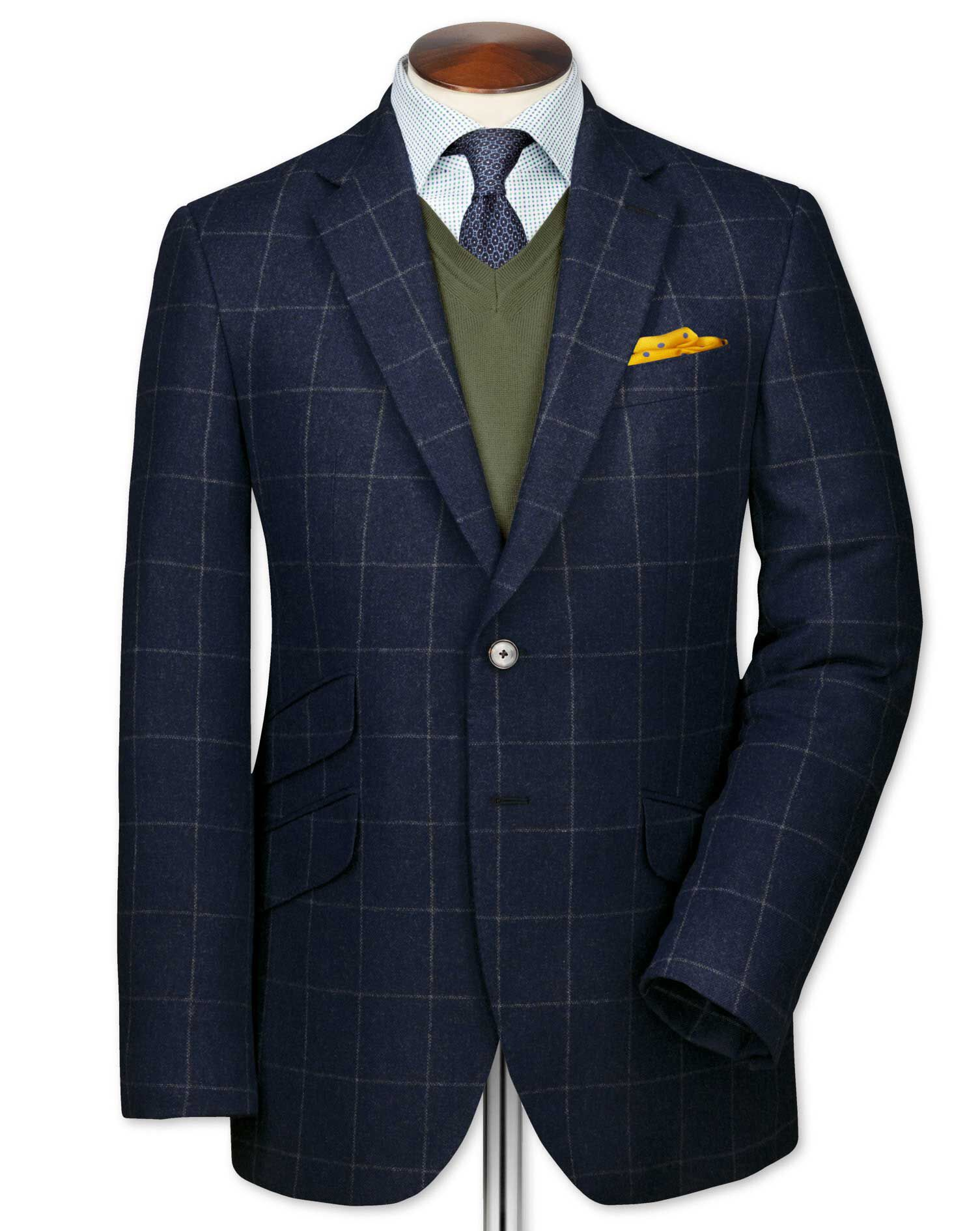 Classic Fit Blue Checkered Luxury Border Tweed Wool Jacket Size 40 Short by Charles Tyrwhitt