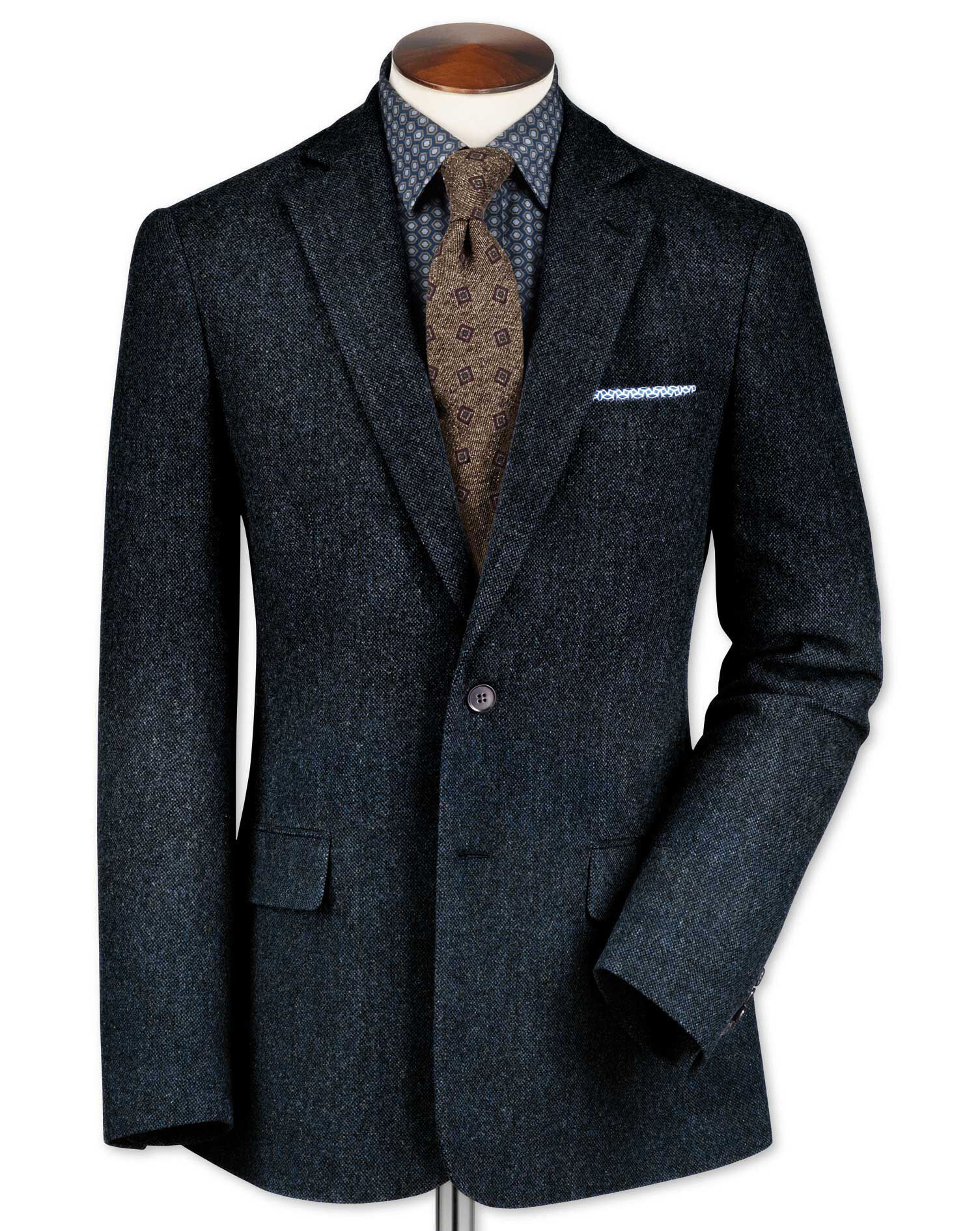 Classic Fit Blue Lambswool Hopsack Wool Jacket Size 38 Long by Charles Tyrwhitt