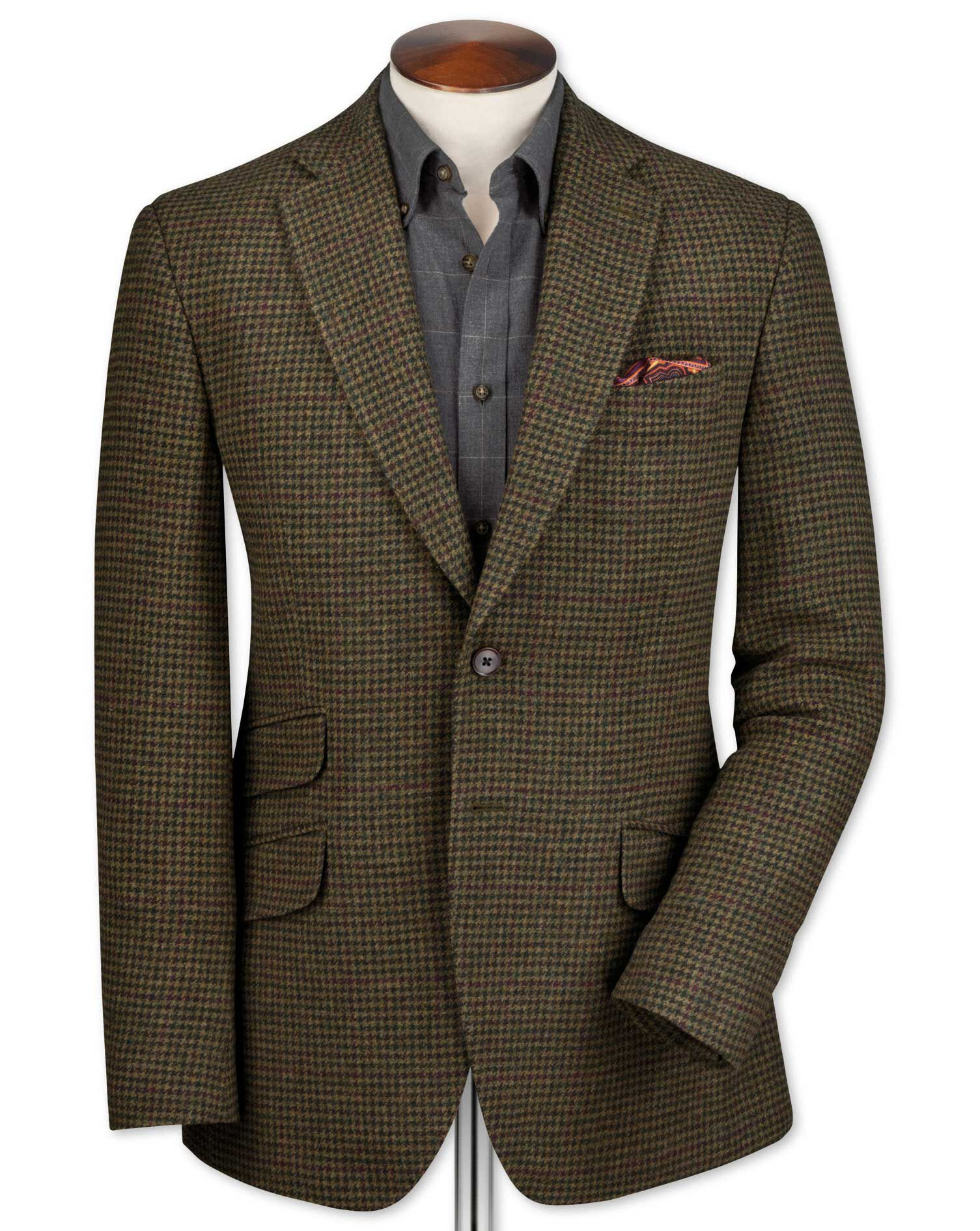 Classic Fit Olive Checkered Luxury Border Tweed Wool Jacket Size 48 Regular by Charles Tyrwhitt