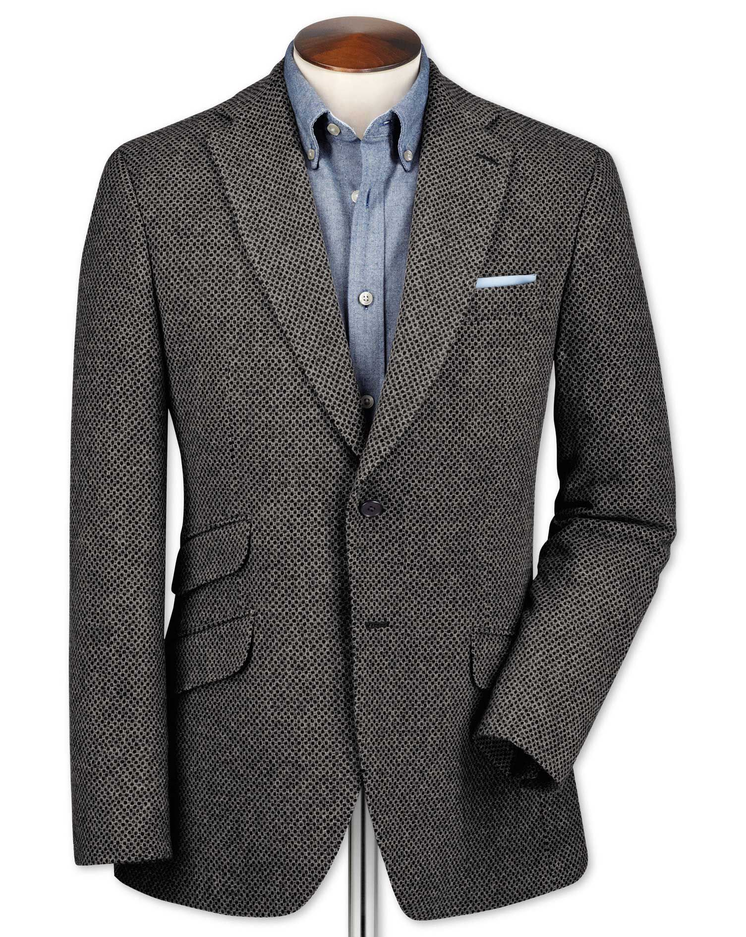 Classic Fit Grey Luxury Border Tweed Wool Jacket Size 48 Regular by Charles Tyrwhitt