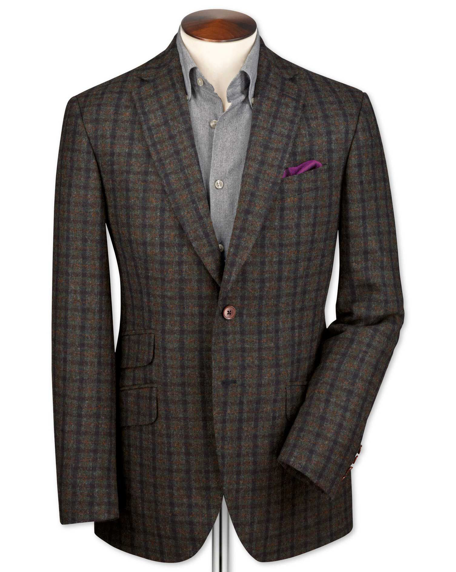 Slim Fit Green and Navy Checkered Luxury British Tweed Wool Jacket Size 42 by Charles Tyrwhitt