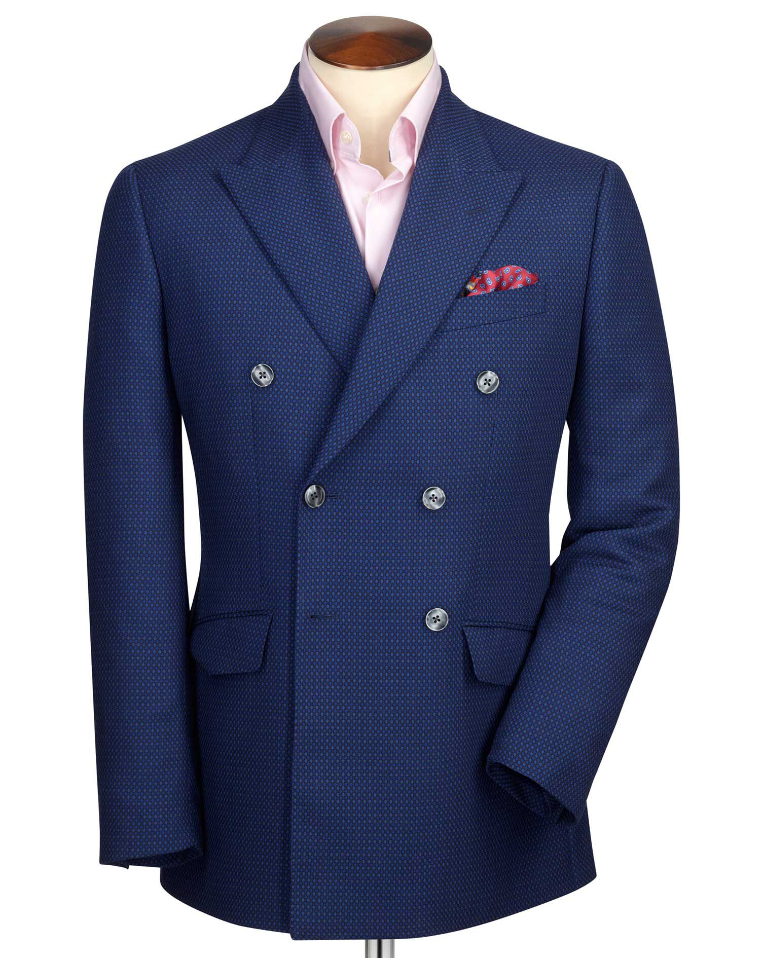Slim Fit Royal Blue Double Breasted Birdseye Wool Wool Jacket Size 42 Short by Charles Tyrwhitt