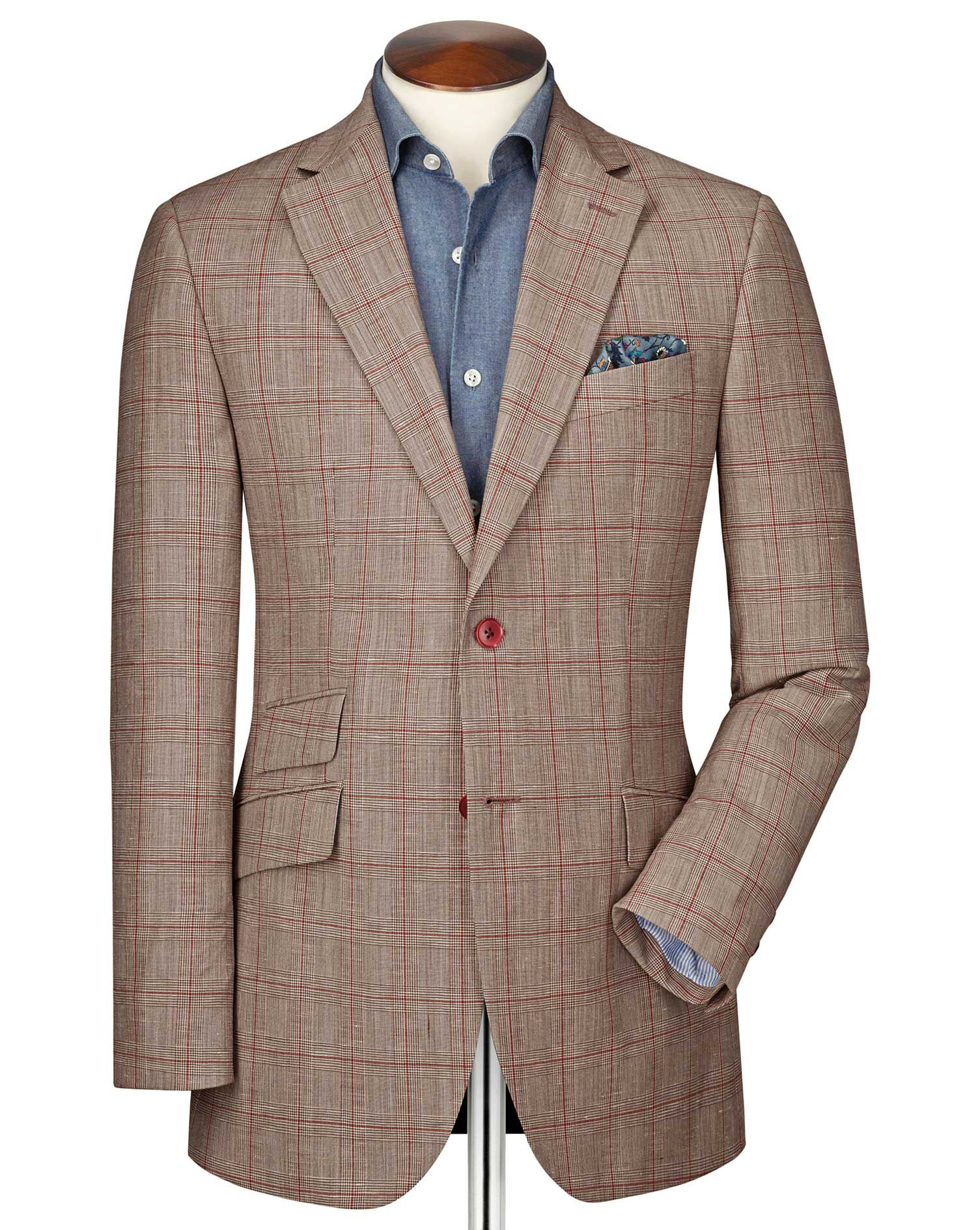 Slim Fit Red Checkered Linen Mix Linen Jacket Size 46 by Charles Tyrwhitt