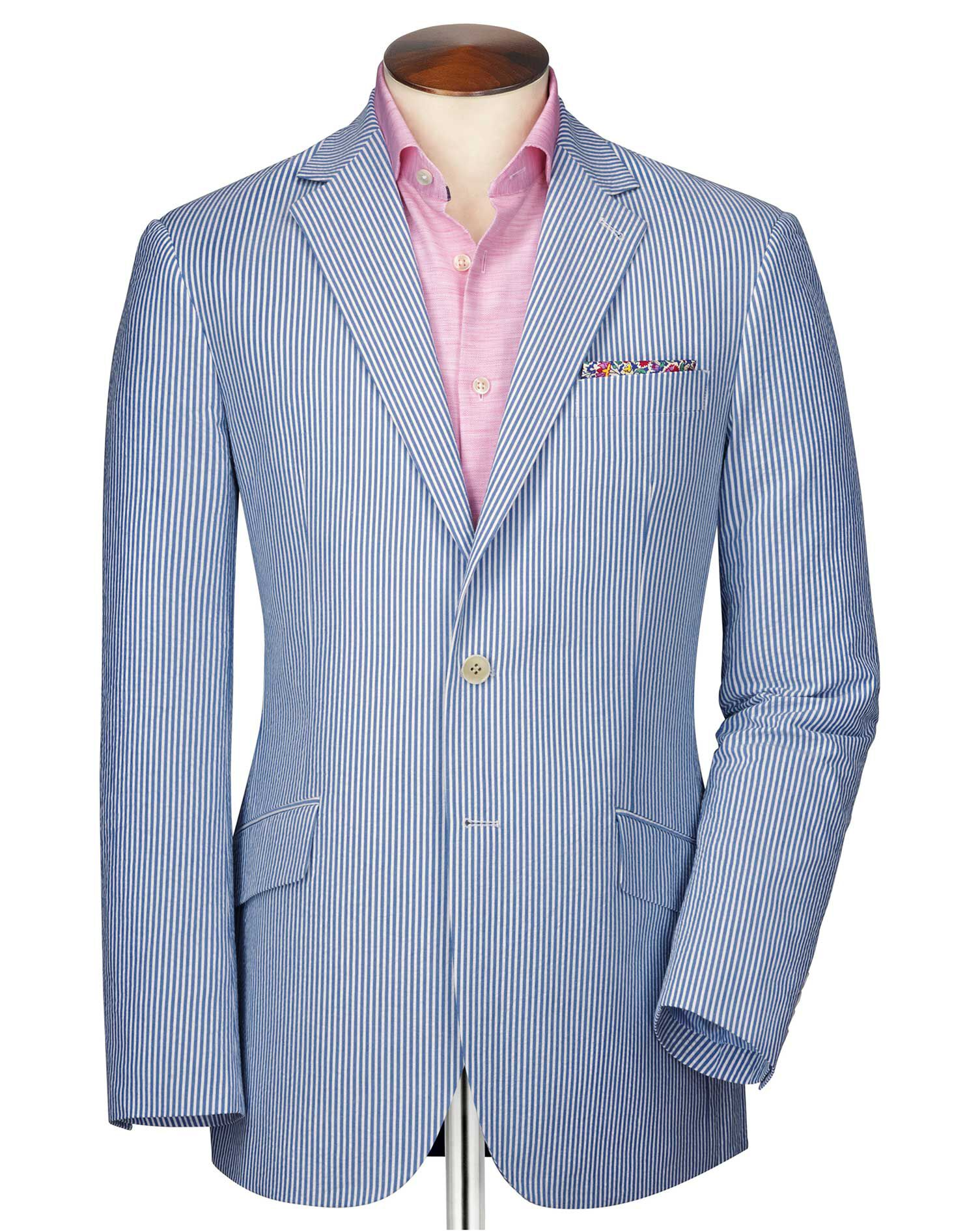 Slim Fit Blue and White Striped Seersucker Cotton Jacket Size 46 by Charles Tyrwhitt