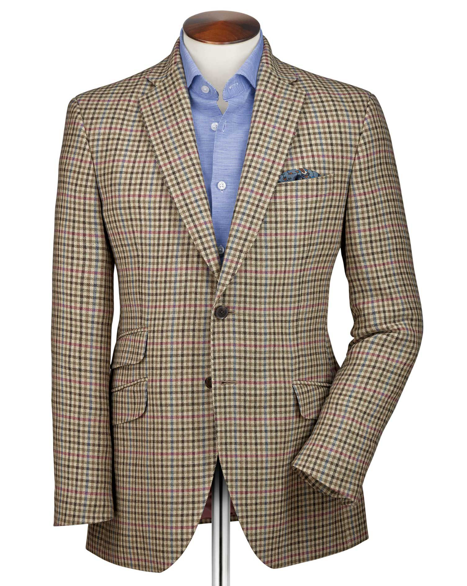 Slim Fit Beige Checkered Luxury Border Tweed Wool Jacket Size 42 by Charles Tyrwhitt