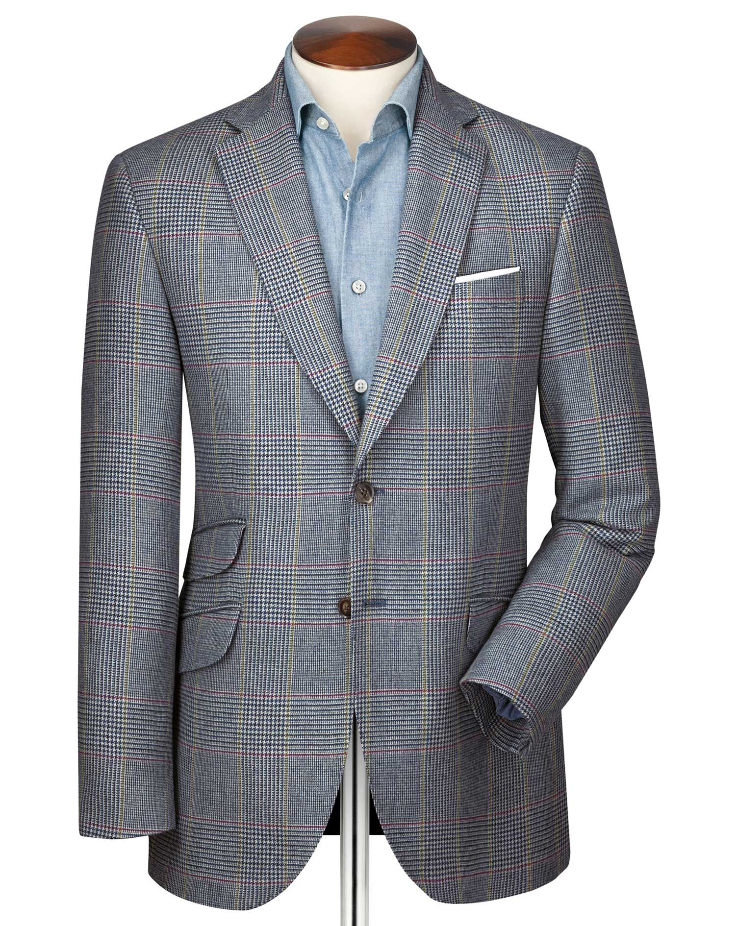 Slim Fit Blue Prince Of Wales Checkered Luxury Border Tweed Wool Jacket Size 40 by Charles Tyrwhitt