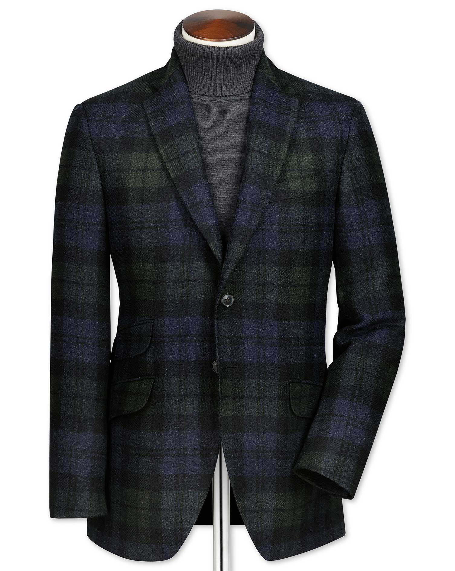 Slim Fit Green and Navy Checkered Wool Wool Jacket Size 46 Long by Charles Tyrwhitt
