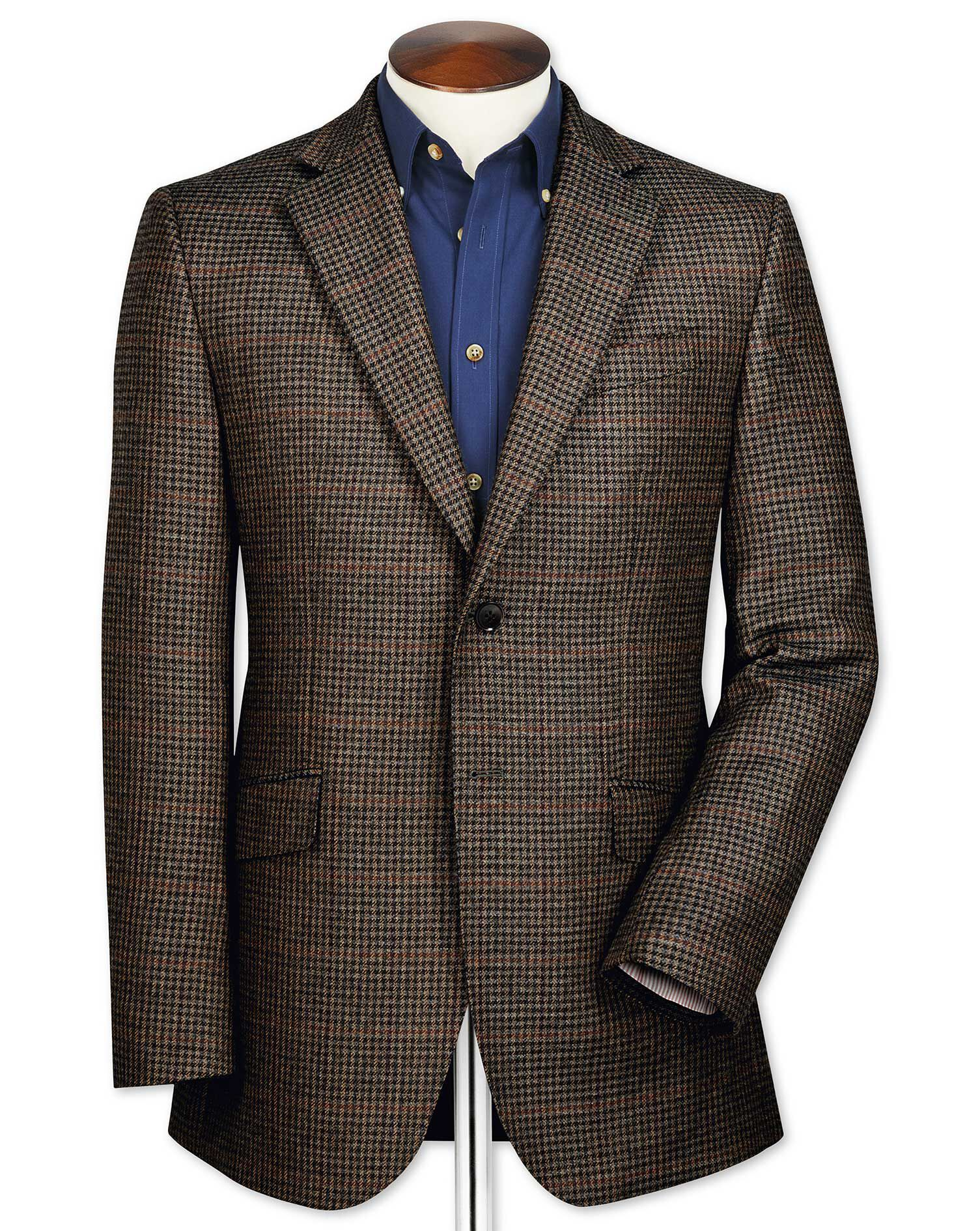 Slim Fit Brown Checkered Lambswool Wool Jacket Size 42 Long by Charles Tyrwhitt